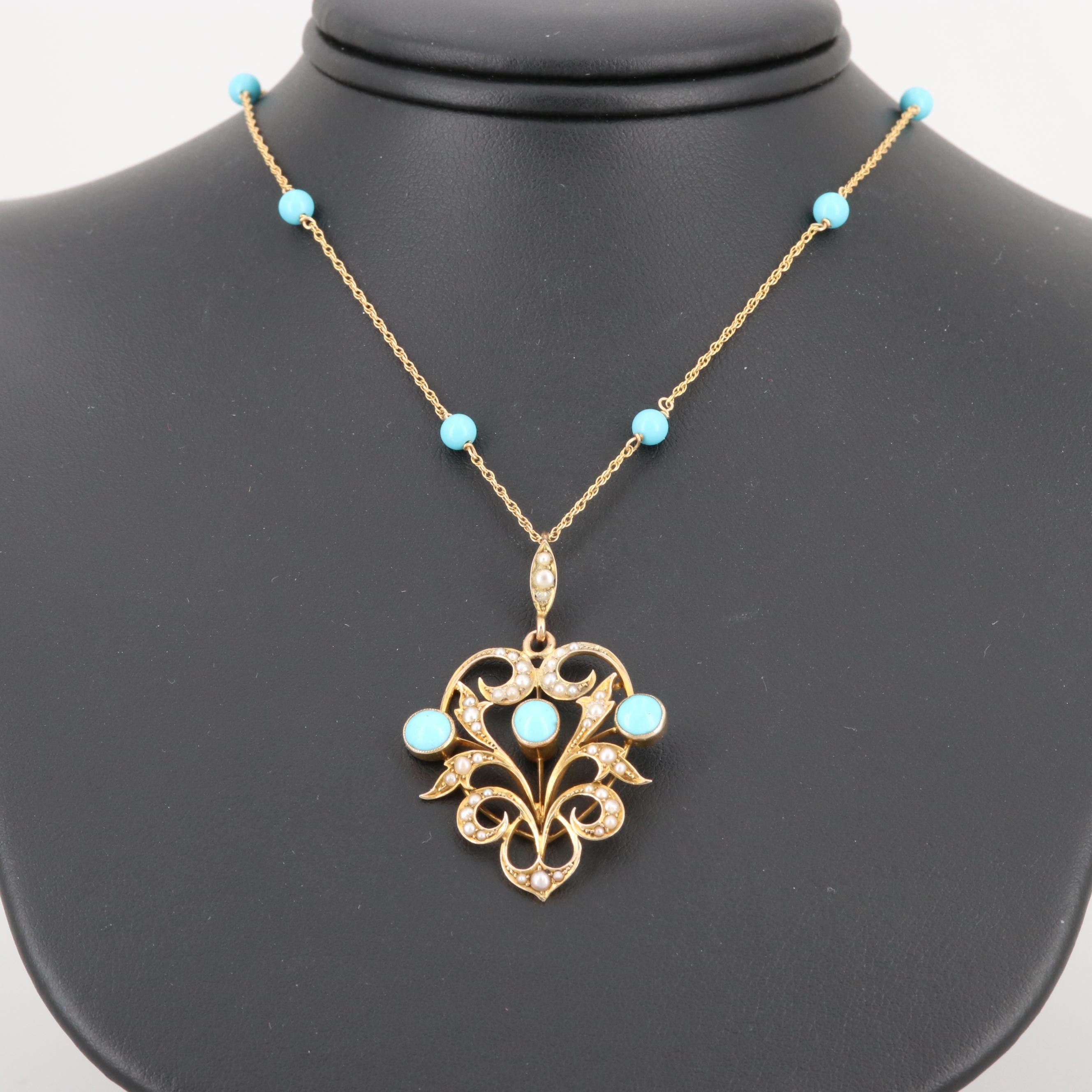 Victorian 9K Yellow Gold Turquoise and Seed Pearl Pendant on 14K Gold Necklace