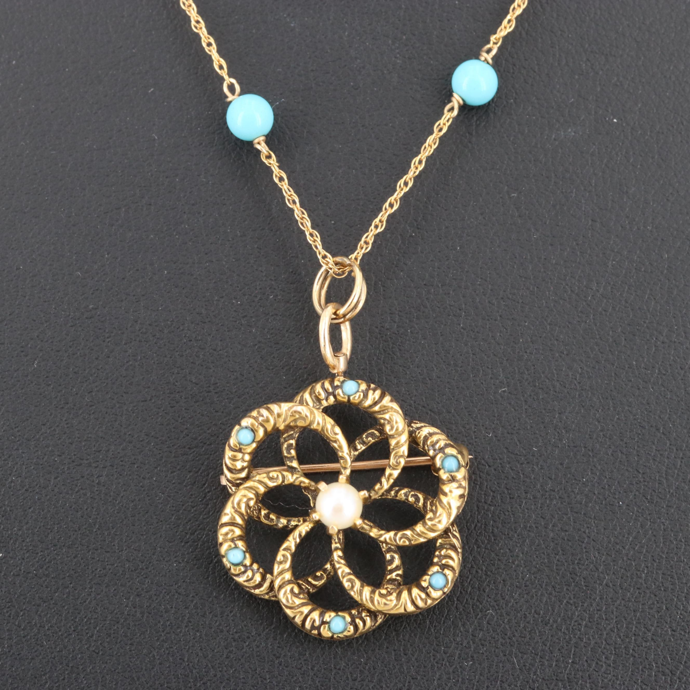 Victorian 14K Gold Love Knot Pendant Necklace with Pearl and Imitation Turquoise