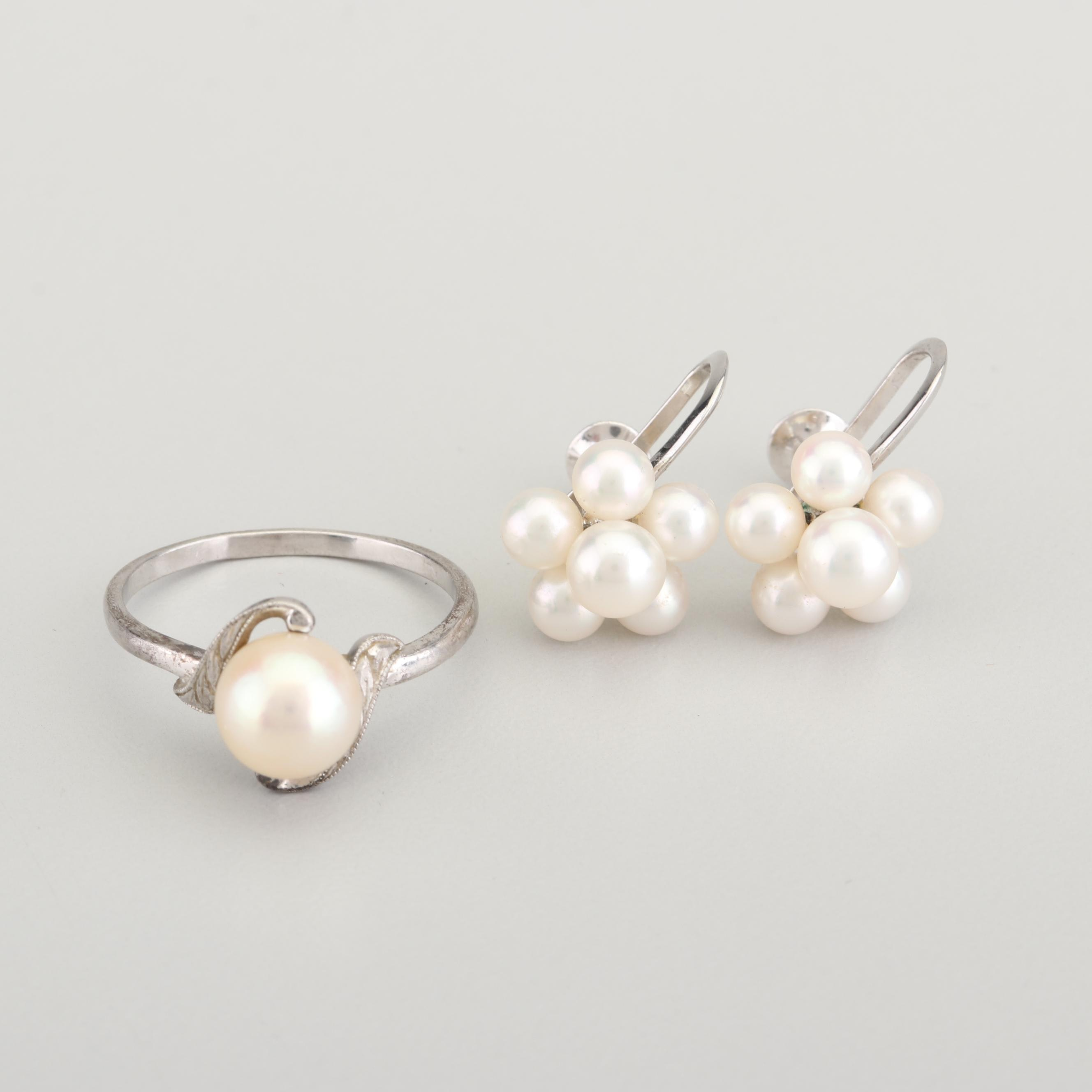 Mikimoto Sterling Silver Freshwater Cultured Pearl Ring and Earrings