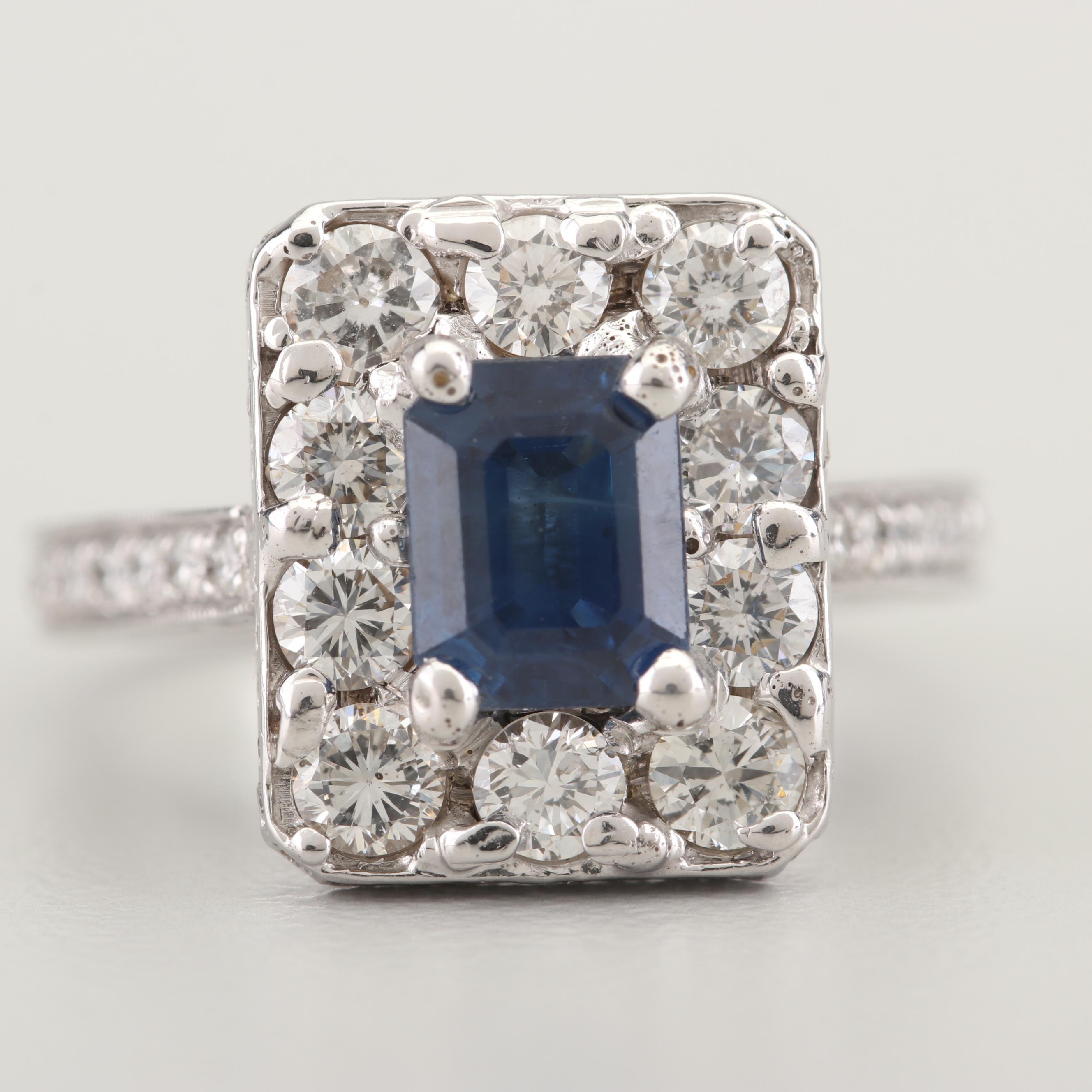 18K White Gold 1.60 CT Sapphire and 1.83 CTW Diamond Ring