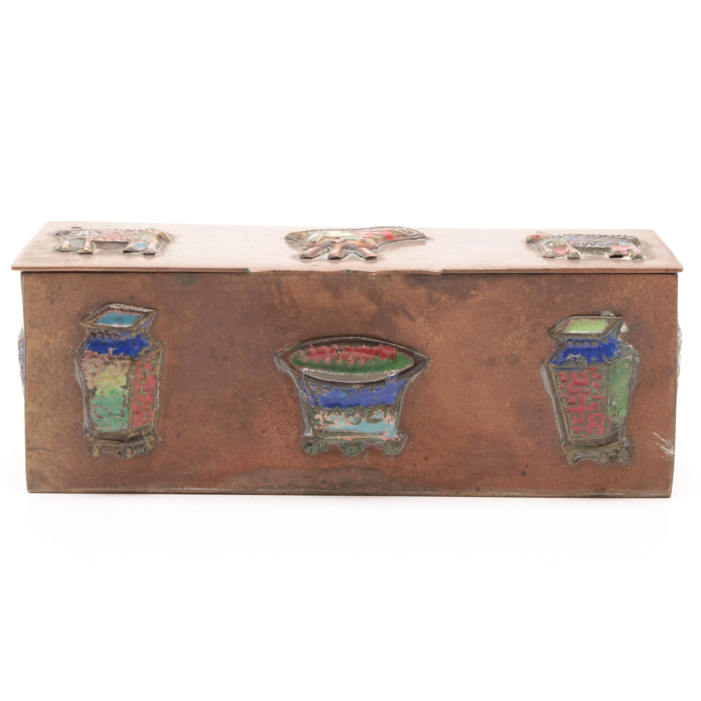 Chinese Brass Box with Enameled Decoration, Late Qing Dynasty/Republic