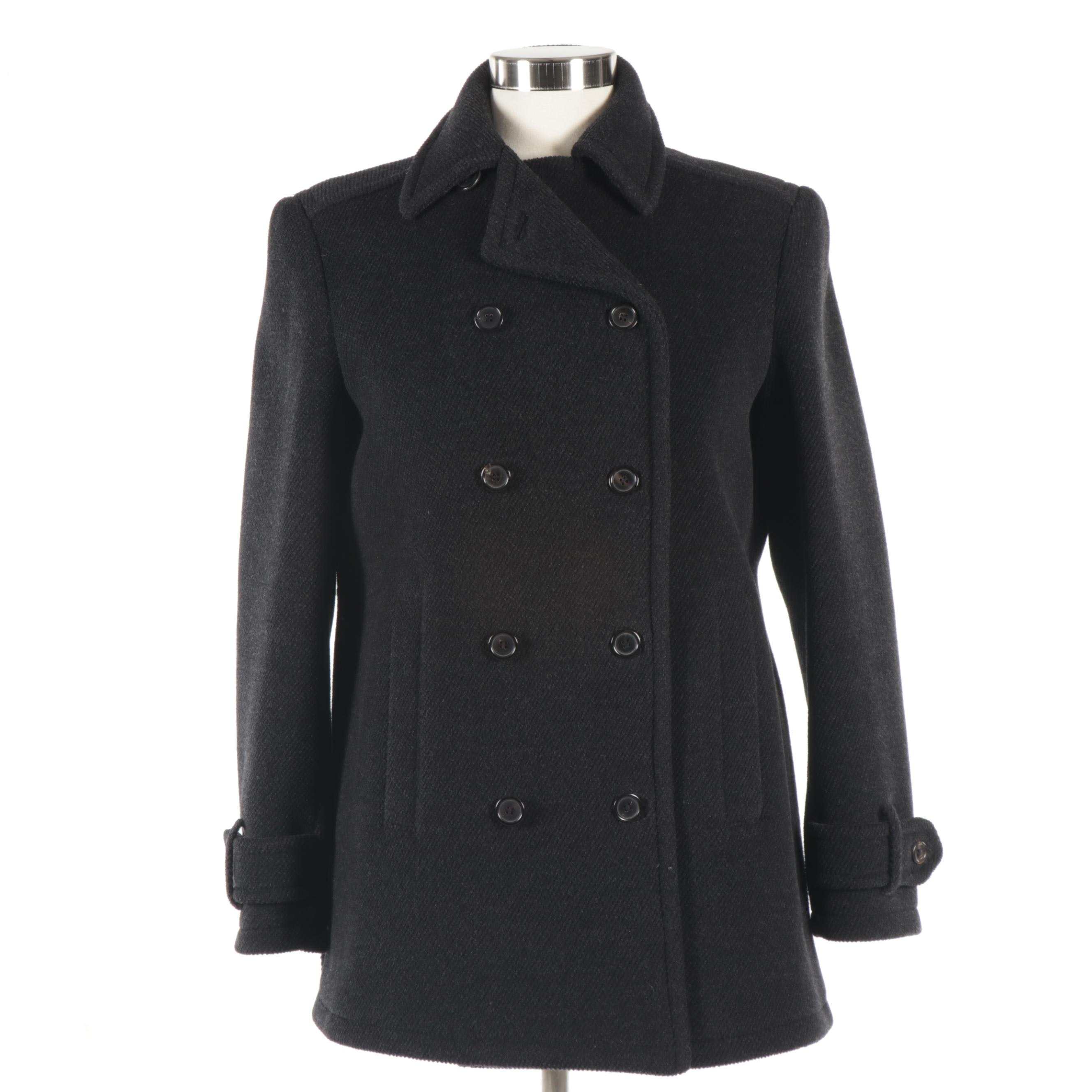 Women's Prada Charcoal Wool Double-Breasted Jacket, Made in Italy