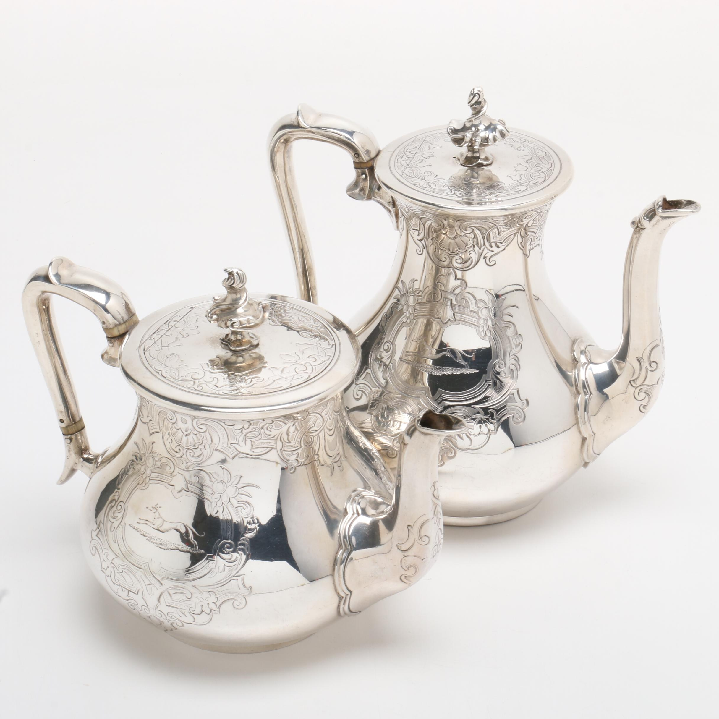 1854 Hunt & Roskell Late Storr & Mortimer Sterling Silver Coffee and Teapot