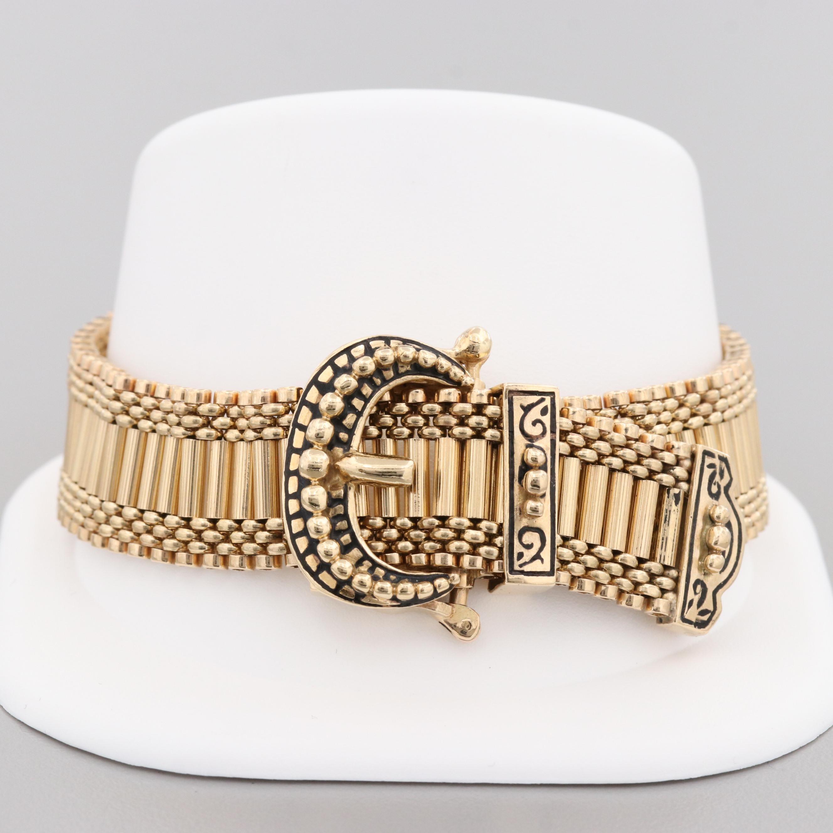 Victorian Revival 14K Yellow Gold Enameled Slide Bracelet