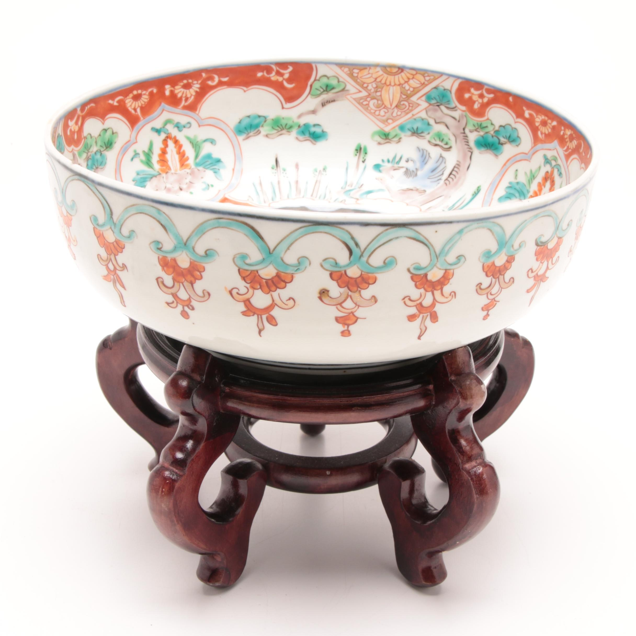 Antique Japanese Porcelain Bowl on Wooden Display Stand