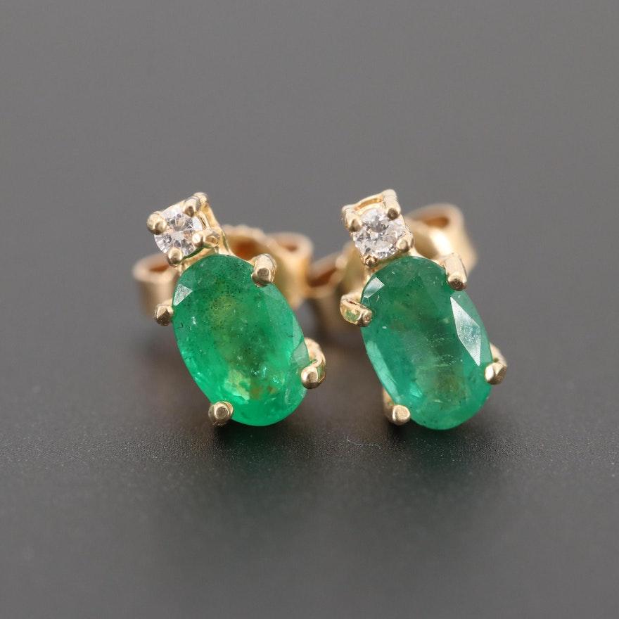 93f0b00c5 14K Yellow Gold Emerald and Diamond Stud Earrings   EBTH