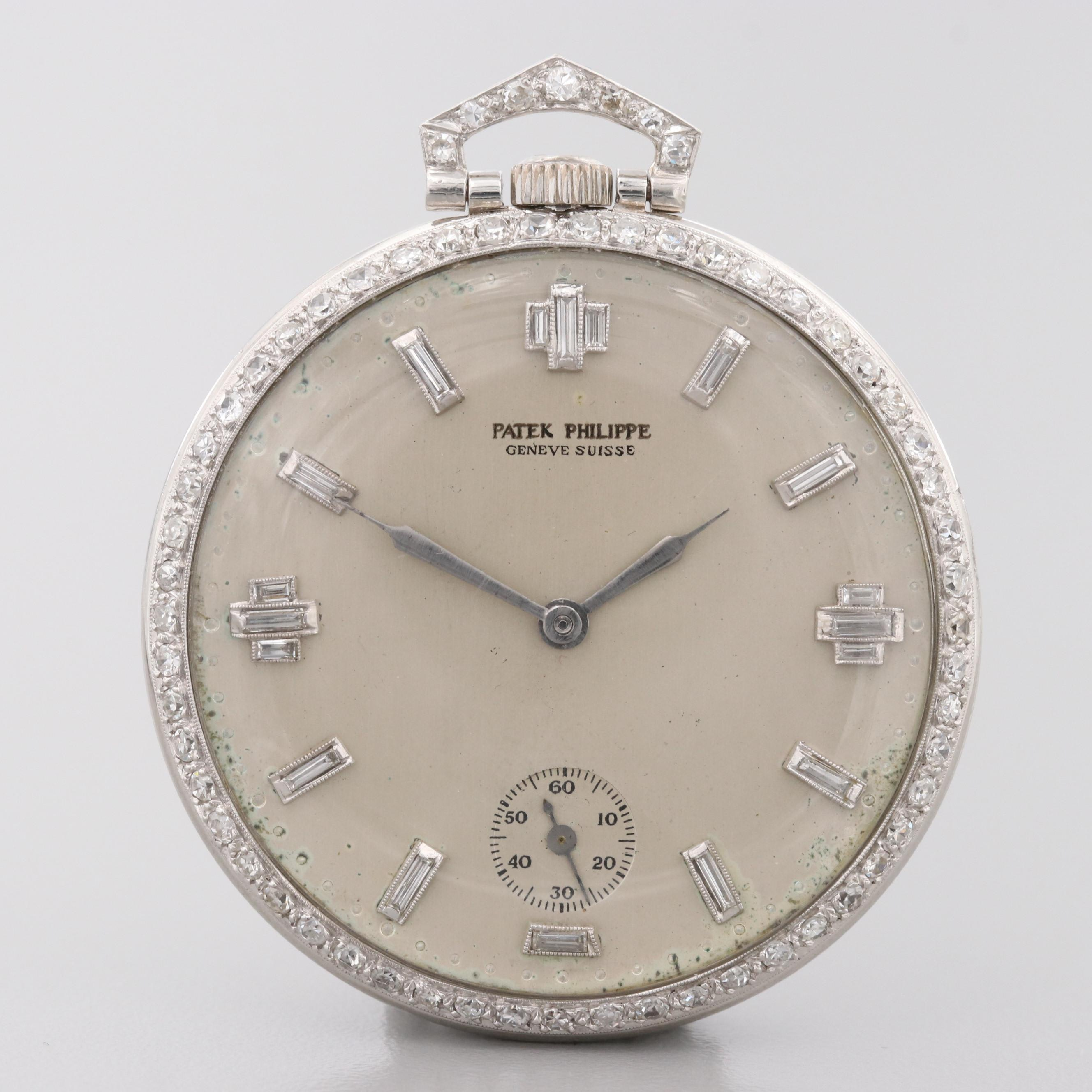 Patek Philippe Platinum 1.61 CTW Diamond Pocket Watch, Circa 1905-1910