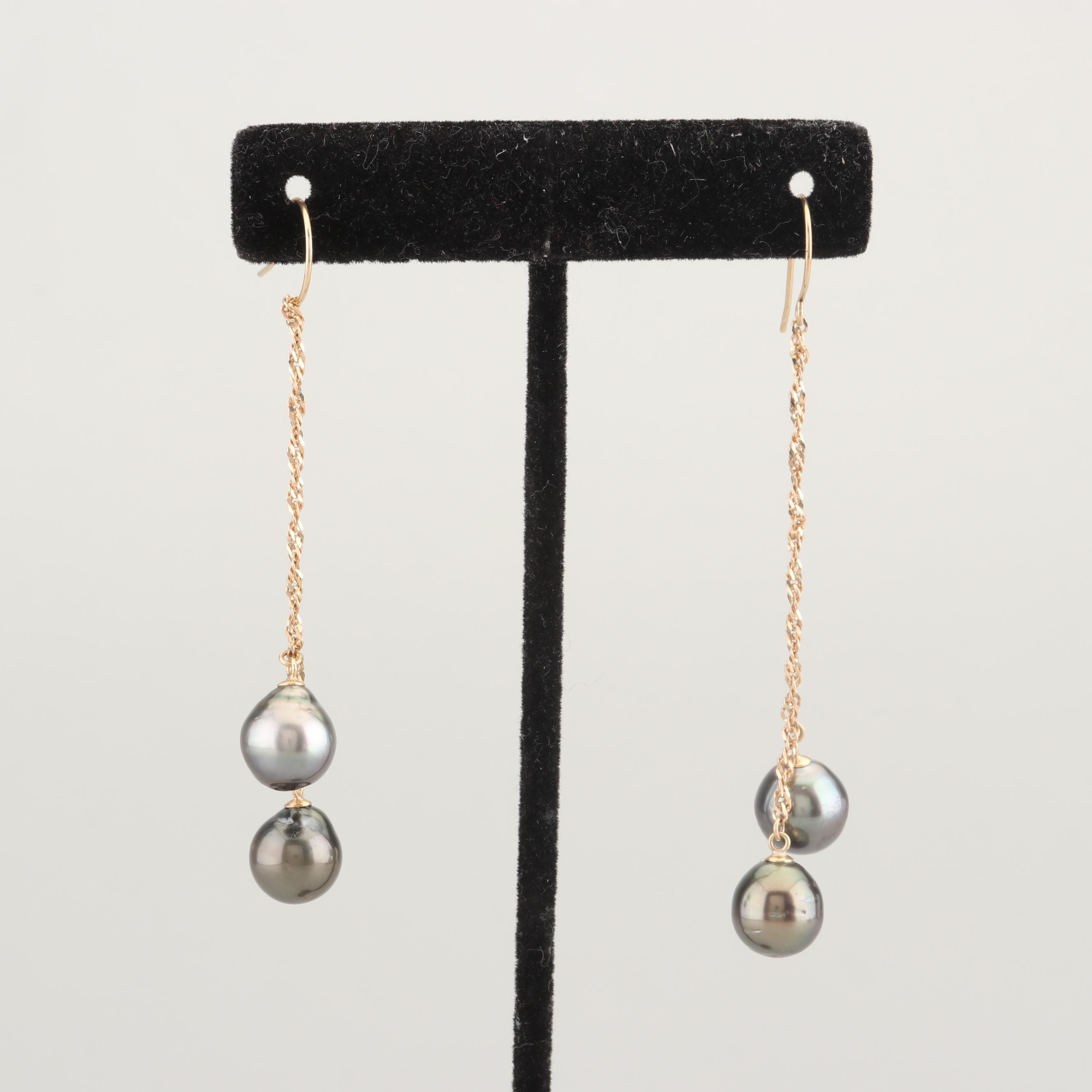 14K Yellow Gold Black Pearl Earrings