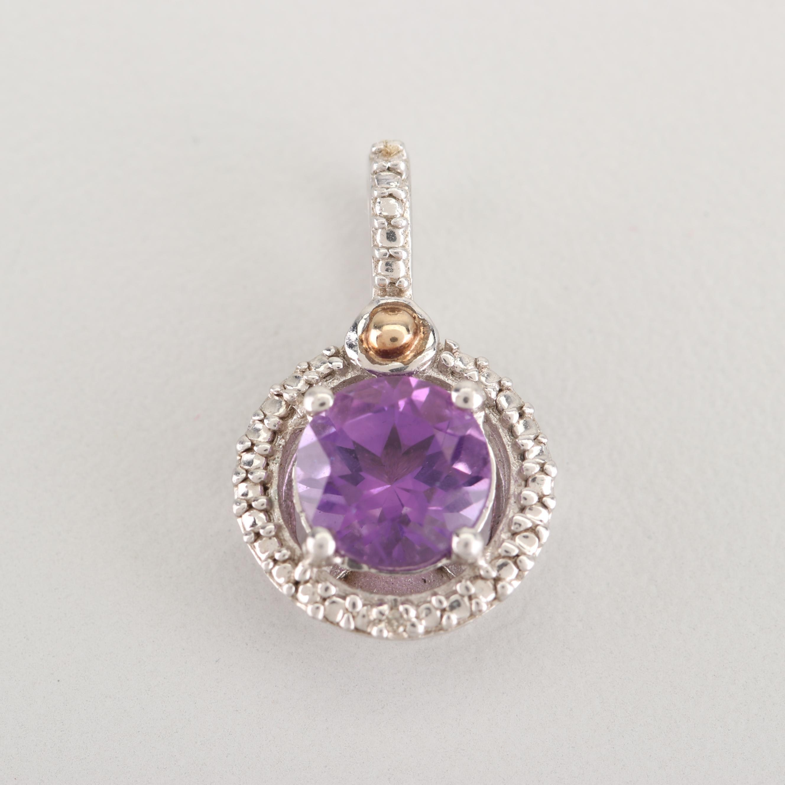 Sterling Silver 14K Gold Accented Amethyst and Diamond Pendant