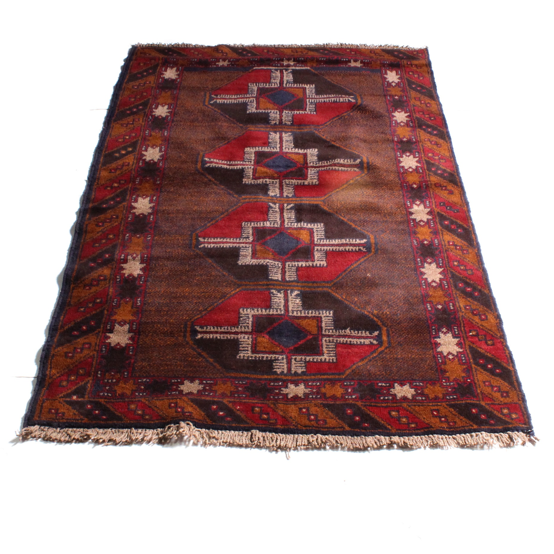 3'8 x 6'3 Hand-Knotted Afghan Baluch Rug