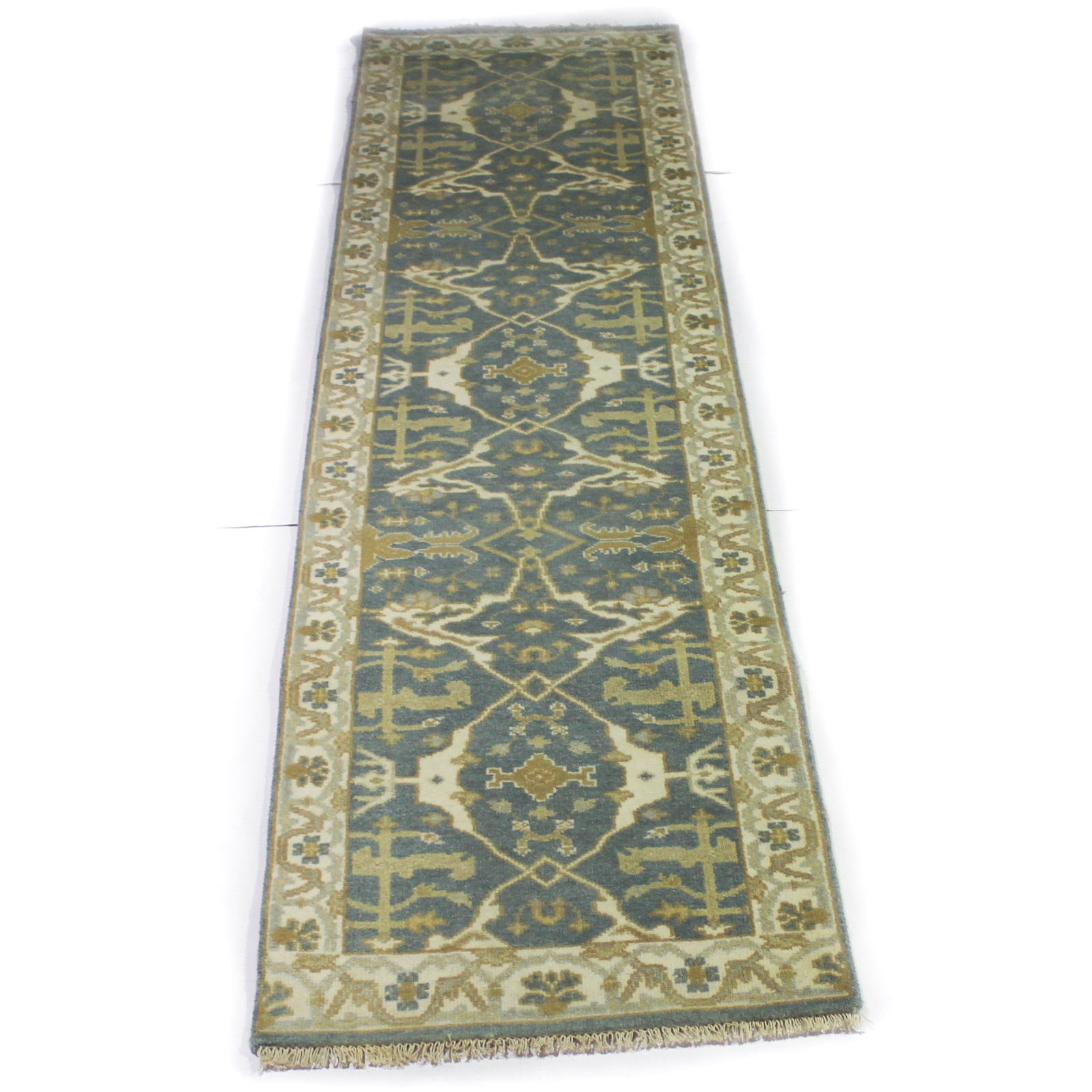 2'6 x 10'1 Hand-Knotted Indo-Turkish Oushak Carpet Runner