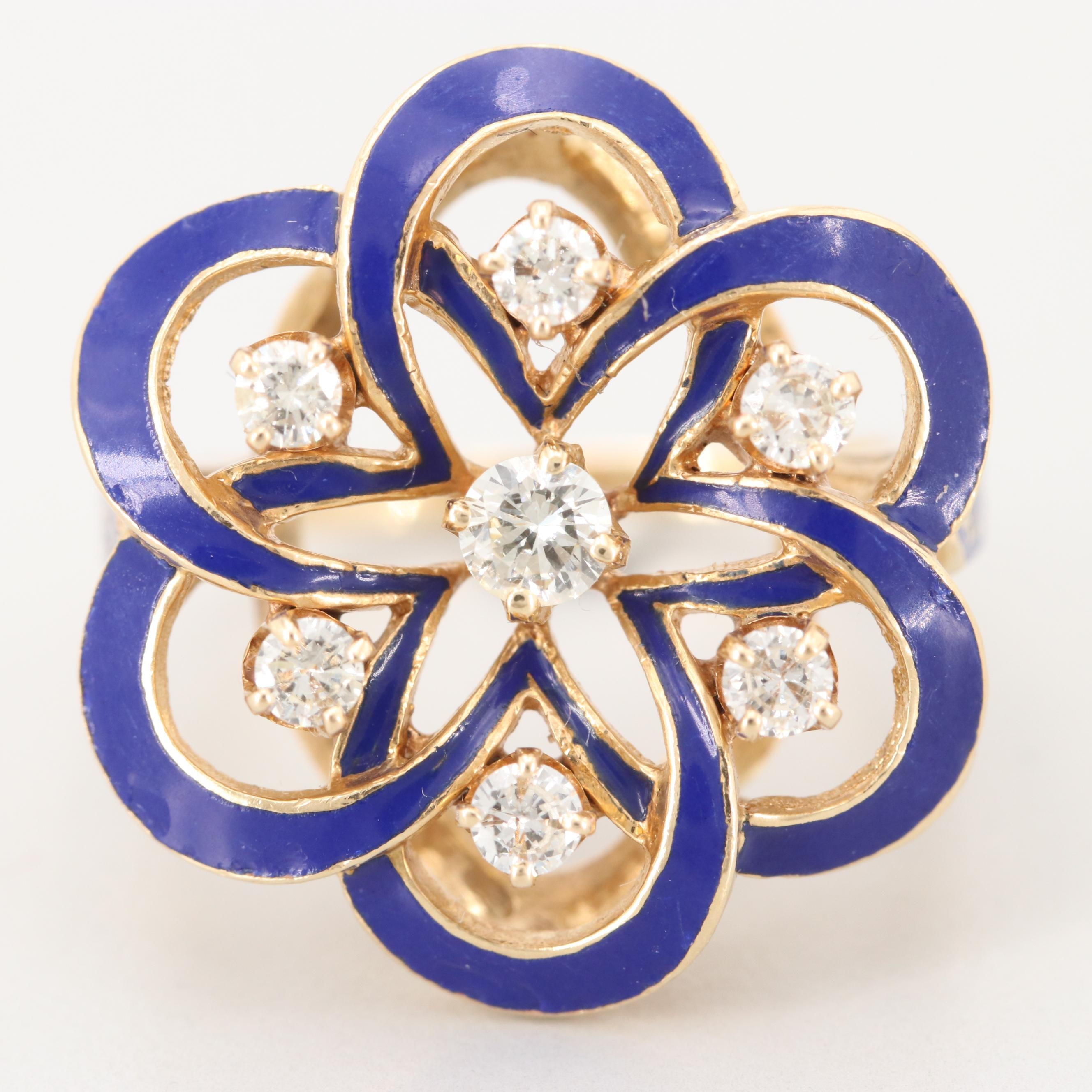 Vintage 14K Yellow Gold Diamond Ring with Champlevé Enamel