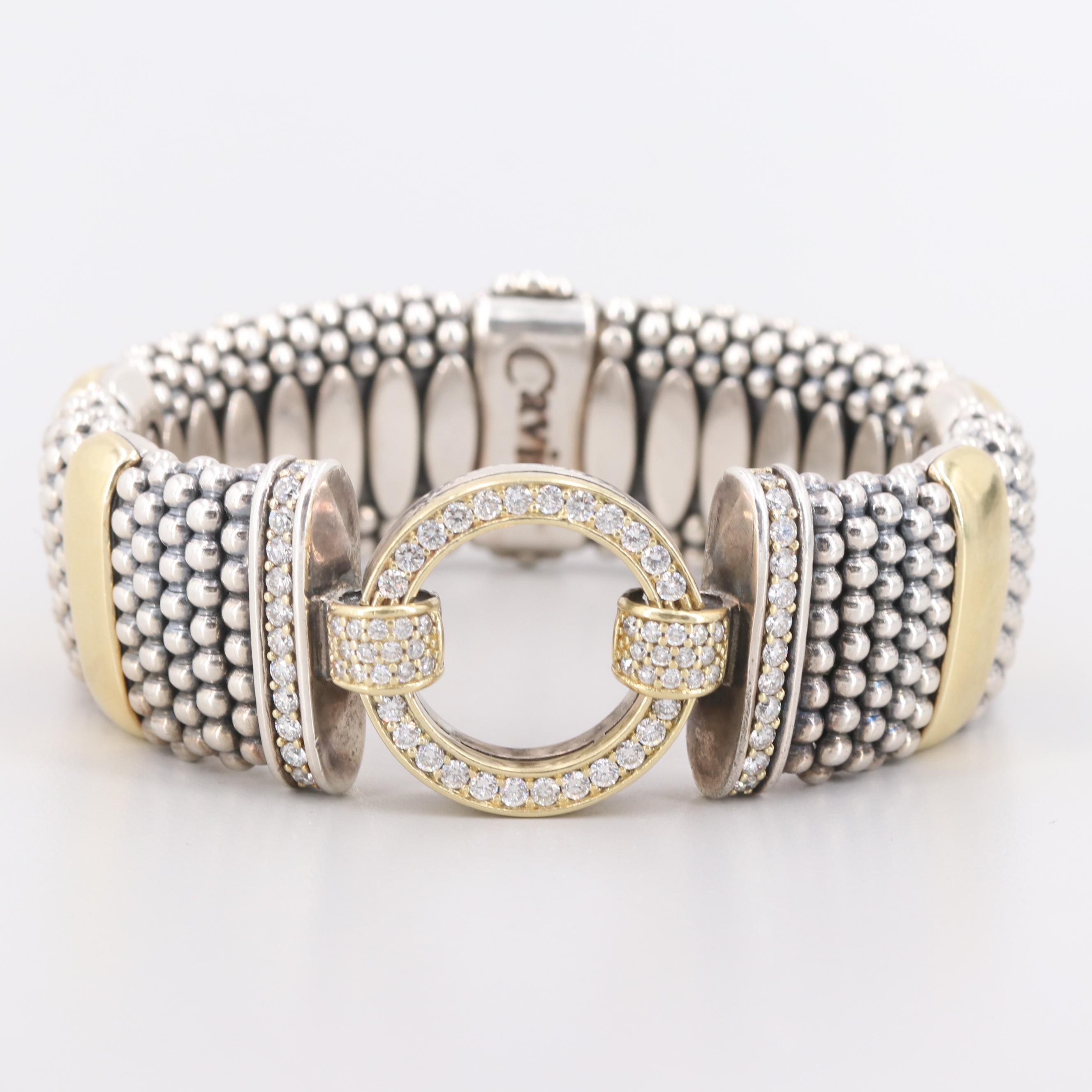 Lagos Caviar 18K Yellow Gold And Sterling Silver 2.33 CTW Diamond Enso Bracelet