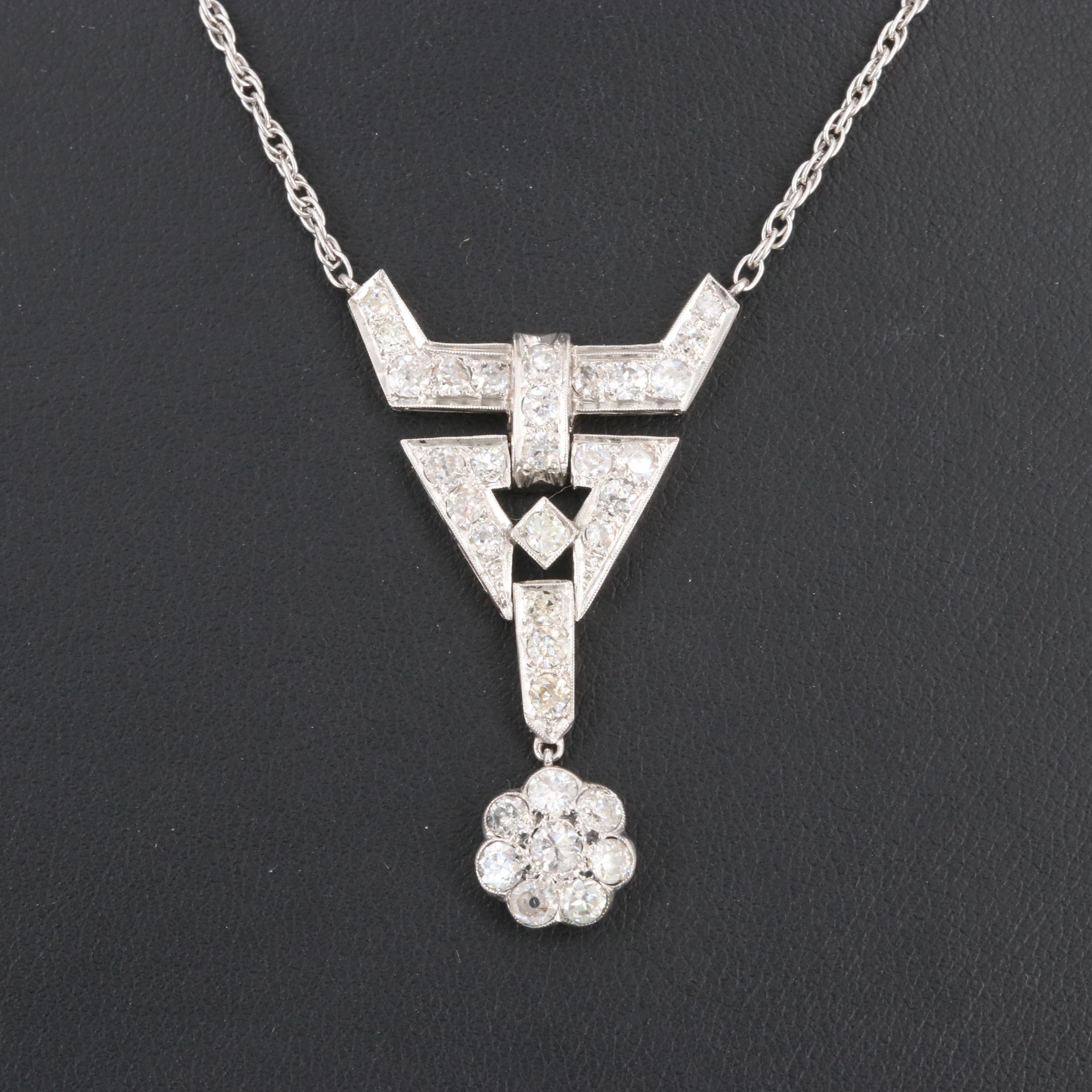 Platinum 1.75 CTW Diamond Pendant on Sterling Silver Chain