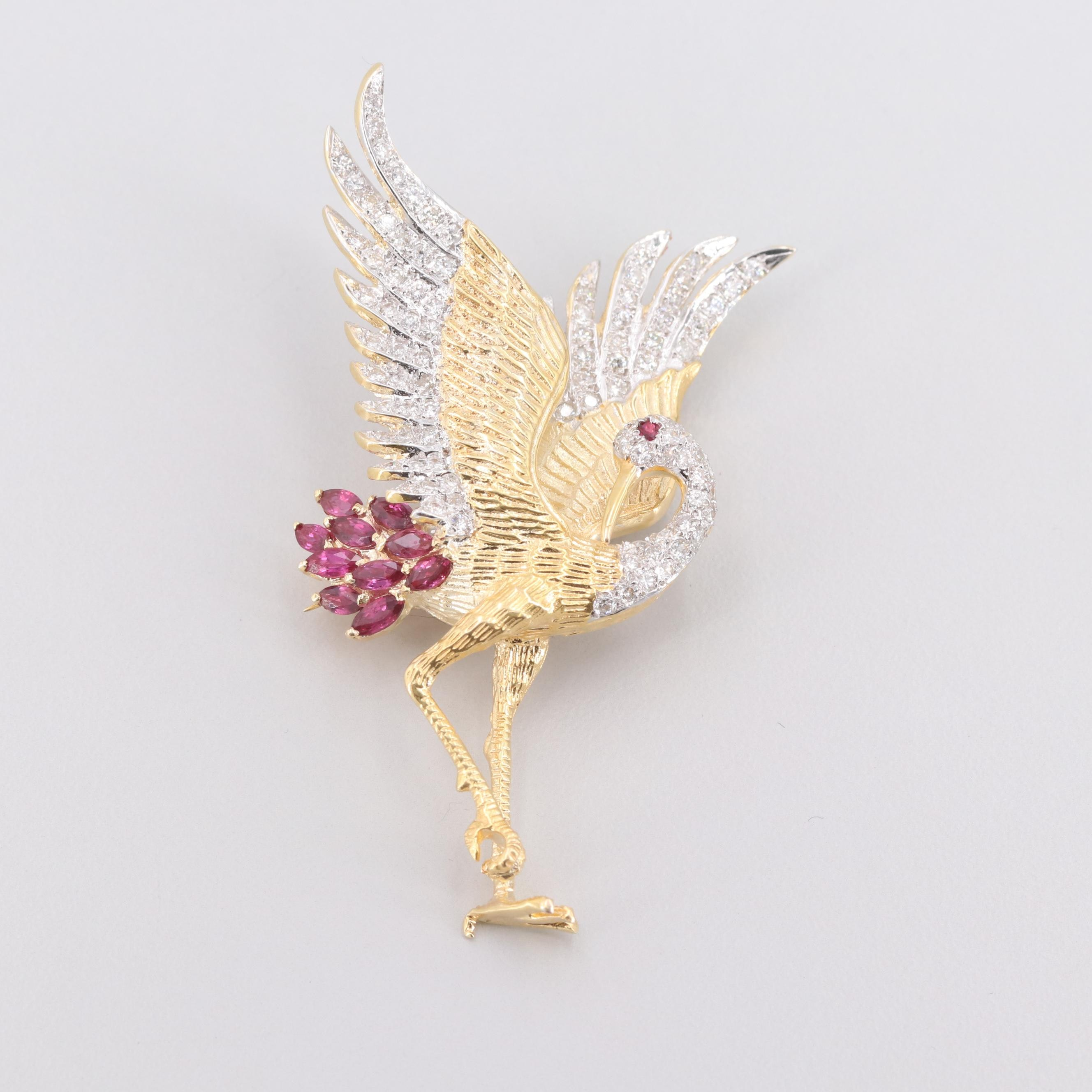 18K Yellow and White Gold Ruby and 1.33 CTW Diamond Egret Brooch