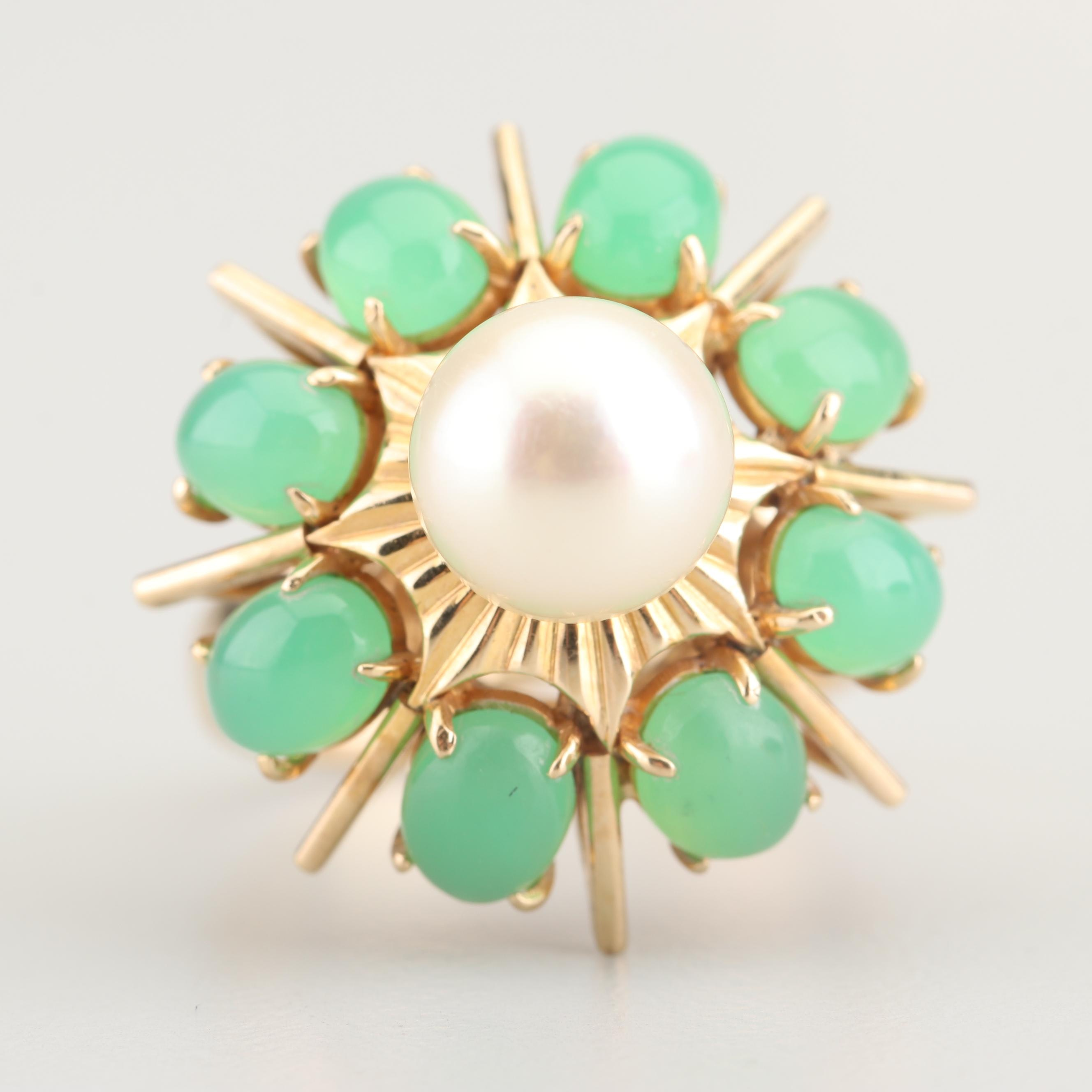 14K Yellow Gold Cultured Saltwater Pearl and Chrysoprase Ring