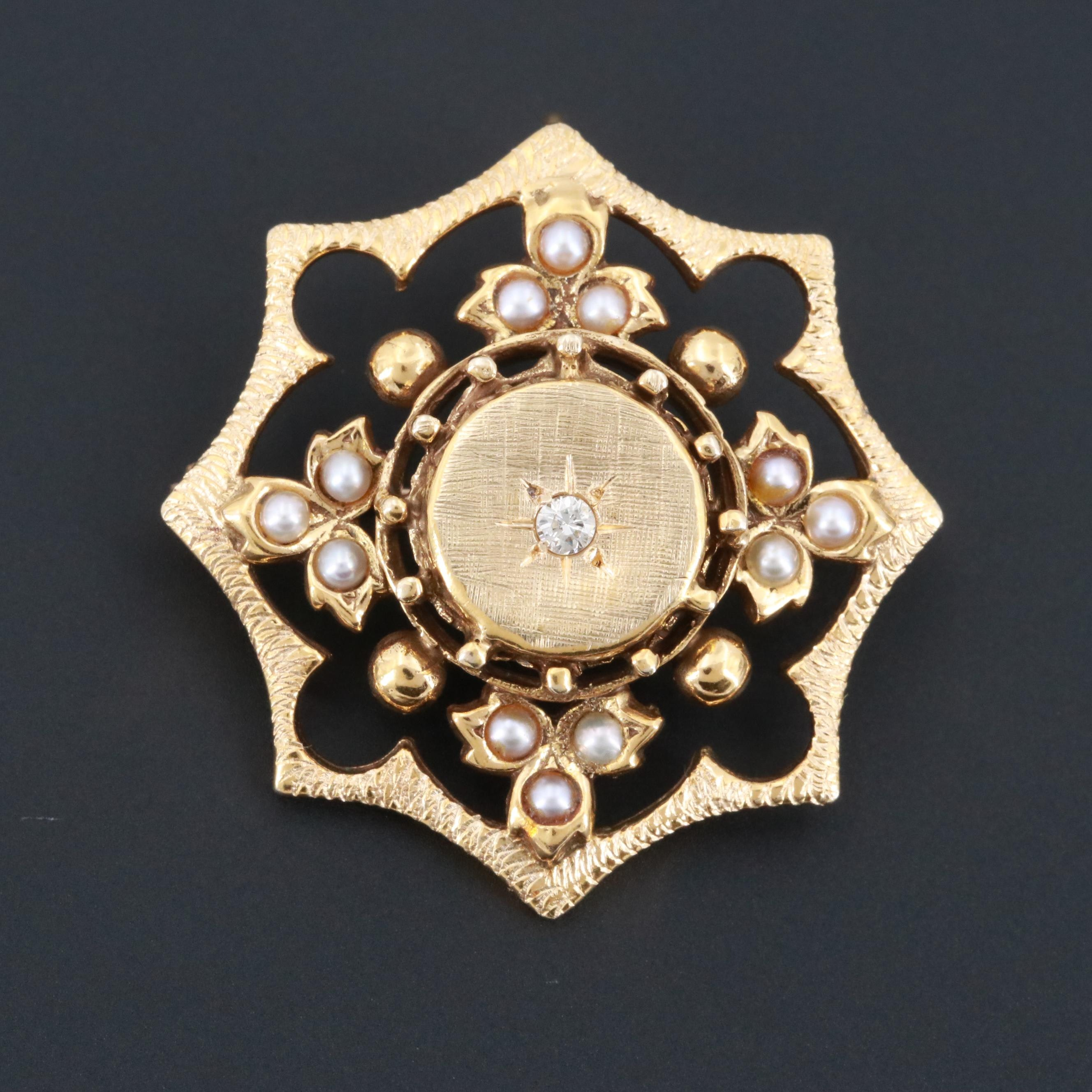 Victorian Revival 14K Yellow Gold Seed Pearl and Diamond Converter Brooch