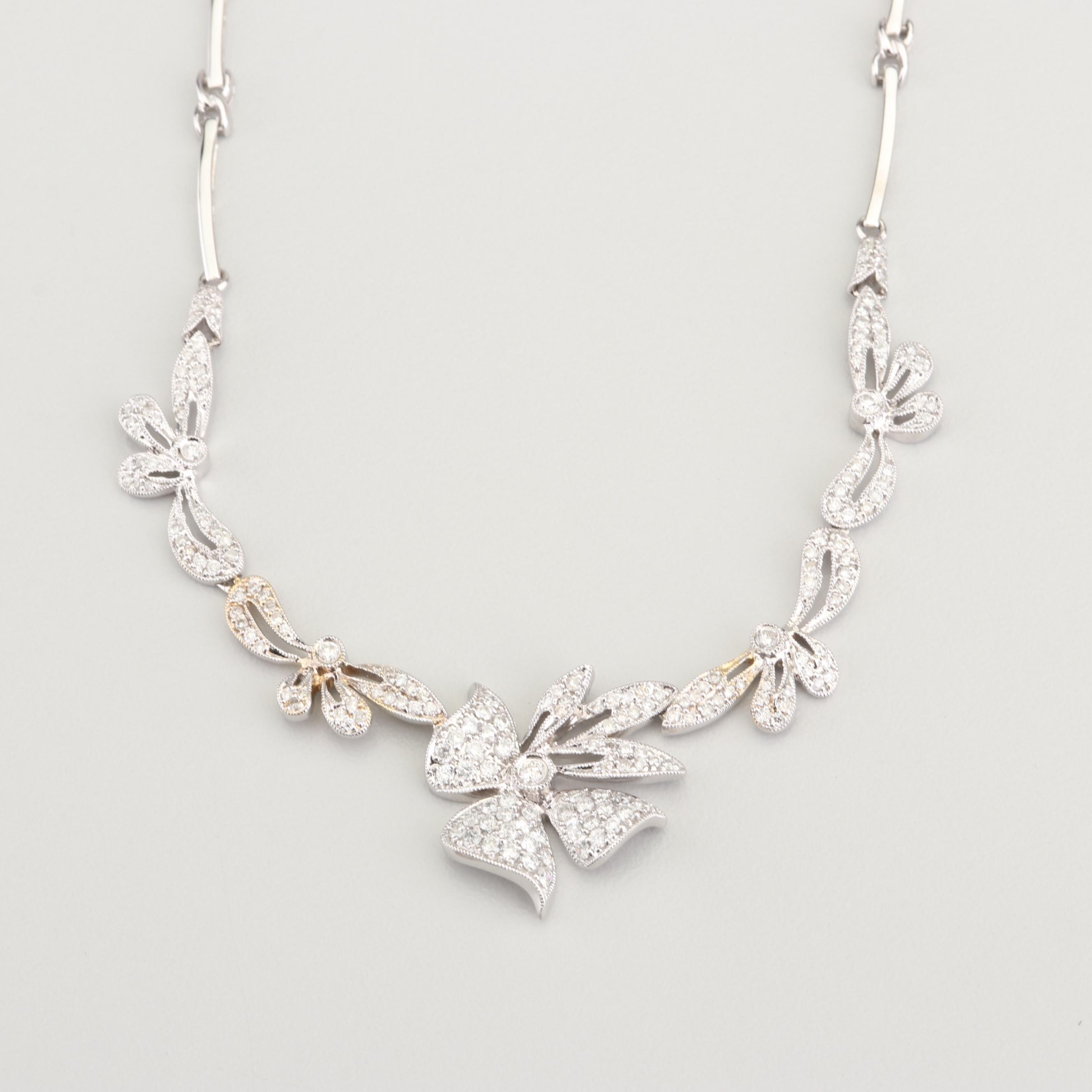14K White Gold 1.48 CTW Diamond Necklace