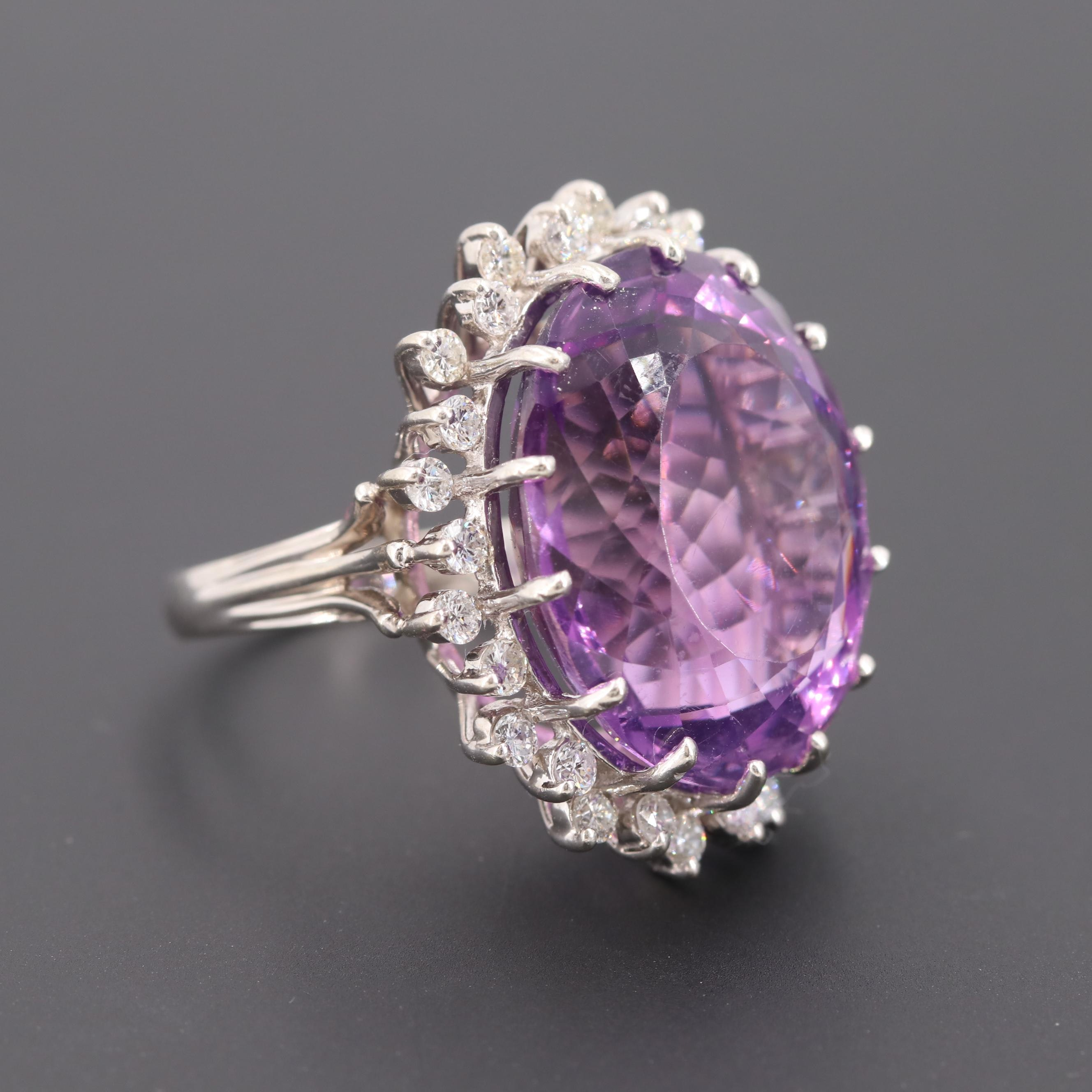 Vintage 14K White Gold 23.86 CT Amethyst Ring with Diamond Halo