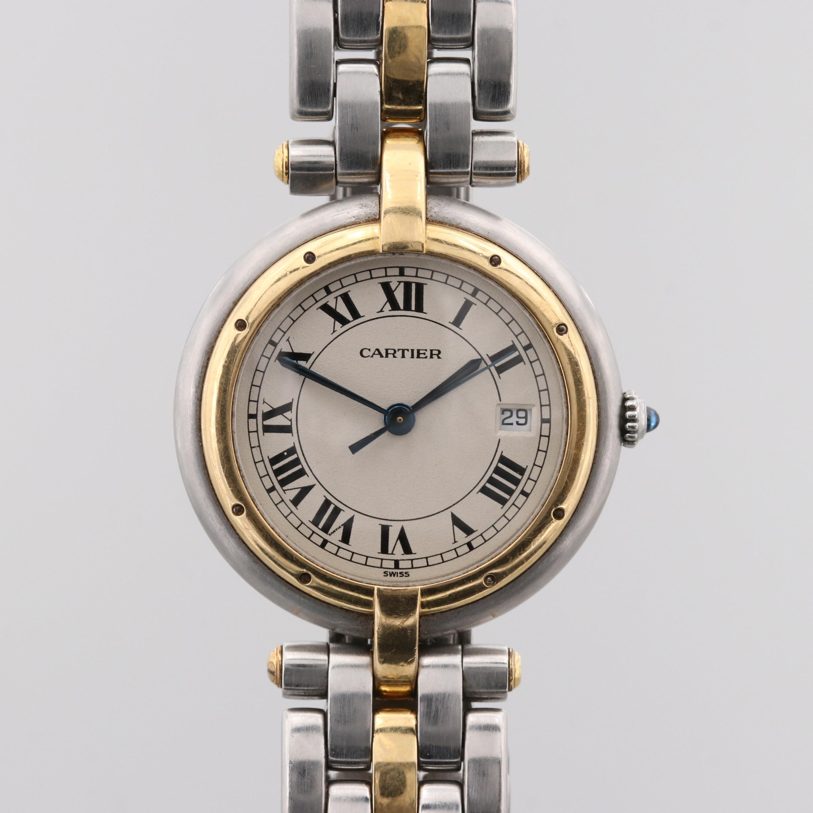 Cartier Panthere Ronde Stainless Steel and 18K Yellow Gold Quartz Wristwatch