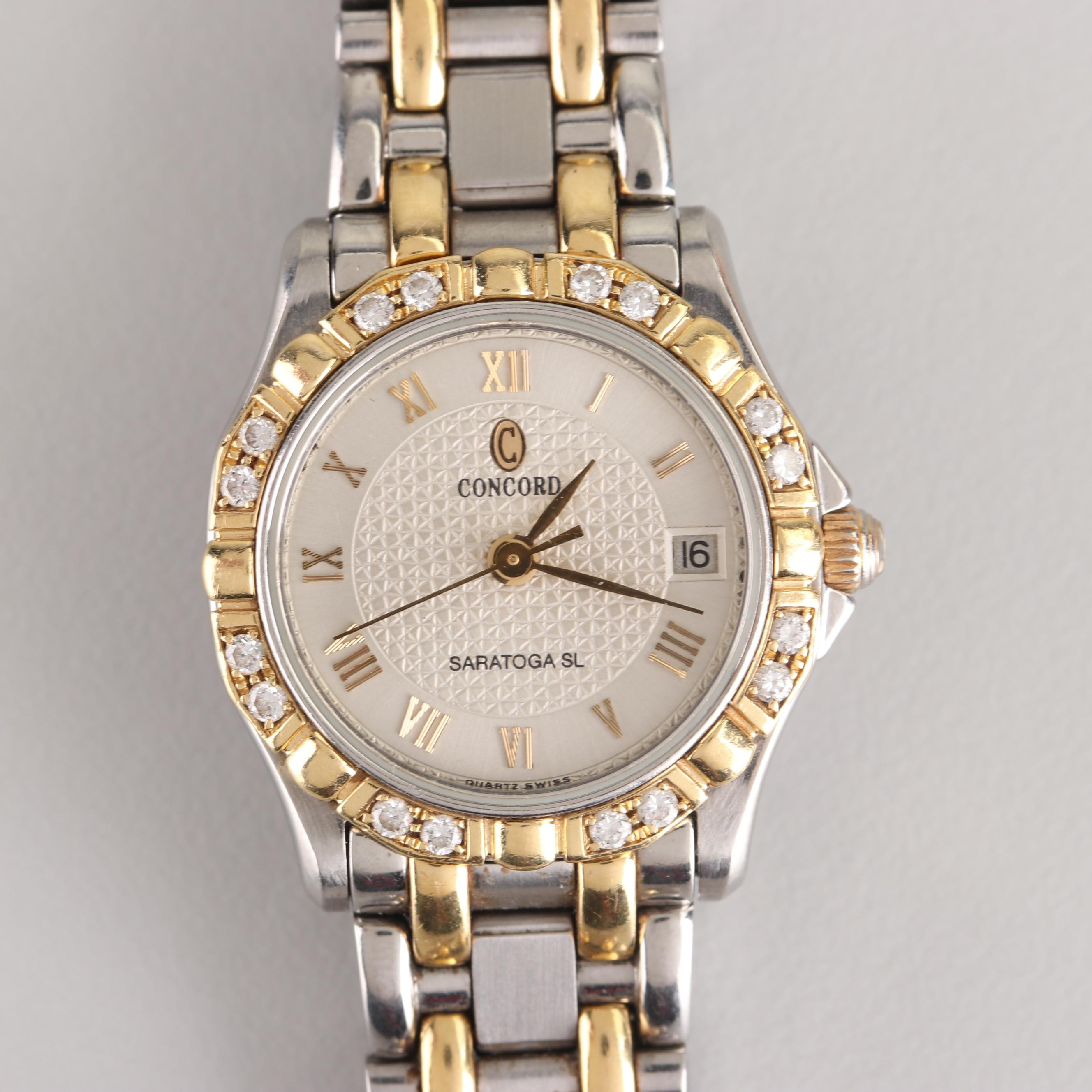 Concord Saratoga SL 18K Yellow Gold Stainless Steel and Diamond Wristwatch