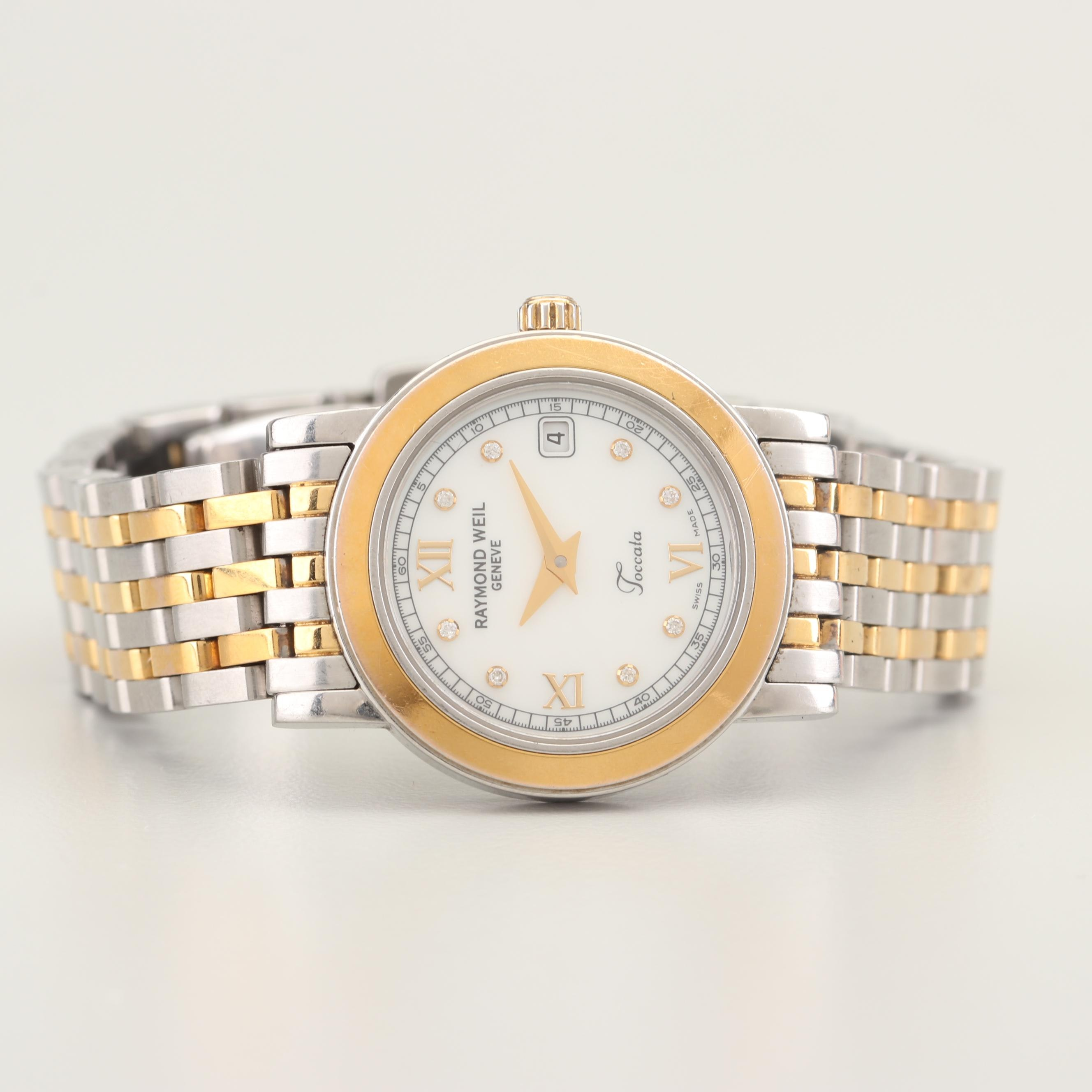 Raymond Weil Toccata 18K Yellow Gold Stainless Steel and Diamond Wristwatch