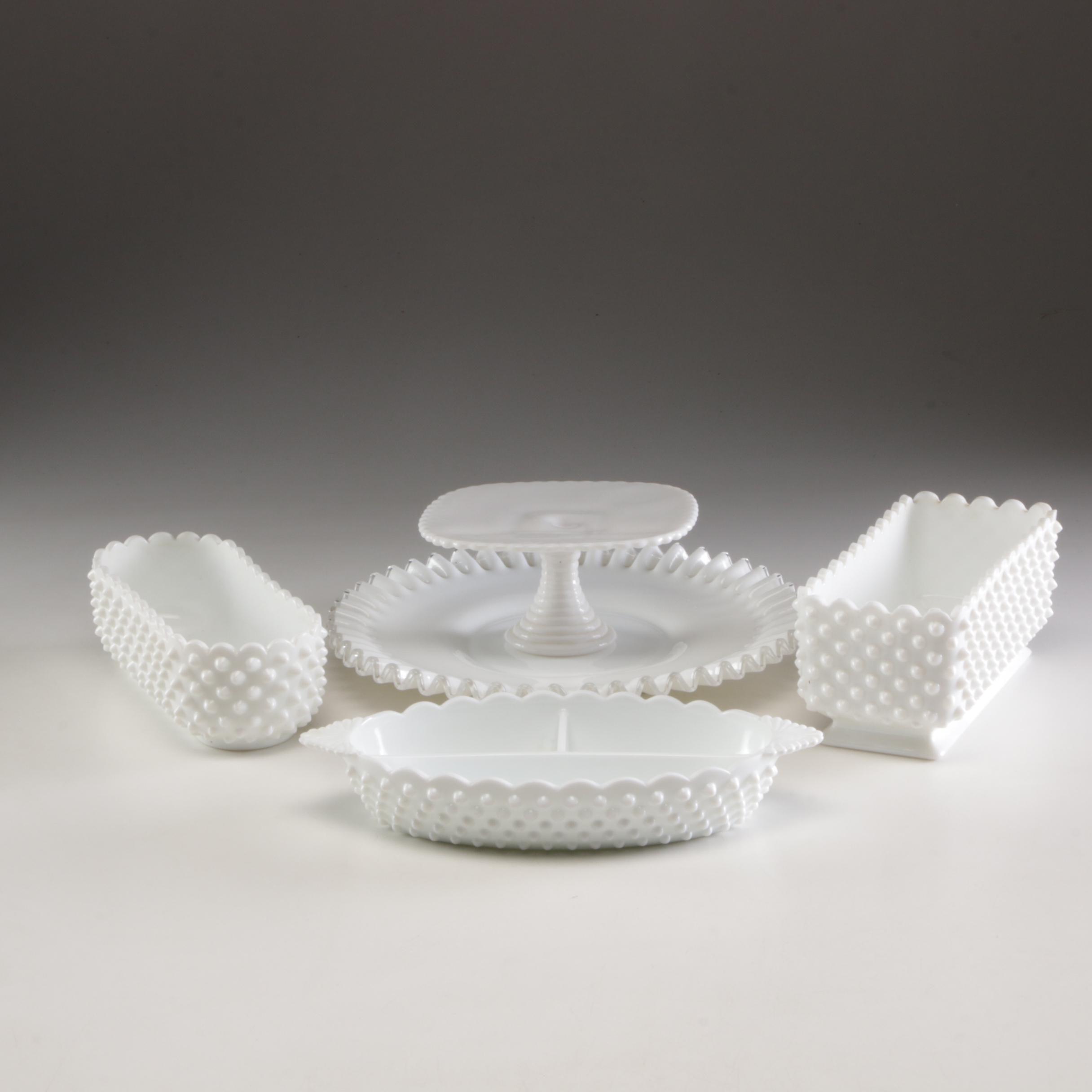 Grouping of Fenton Milkglass Hobnail Tableware