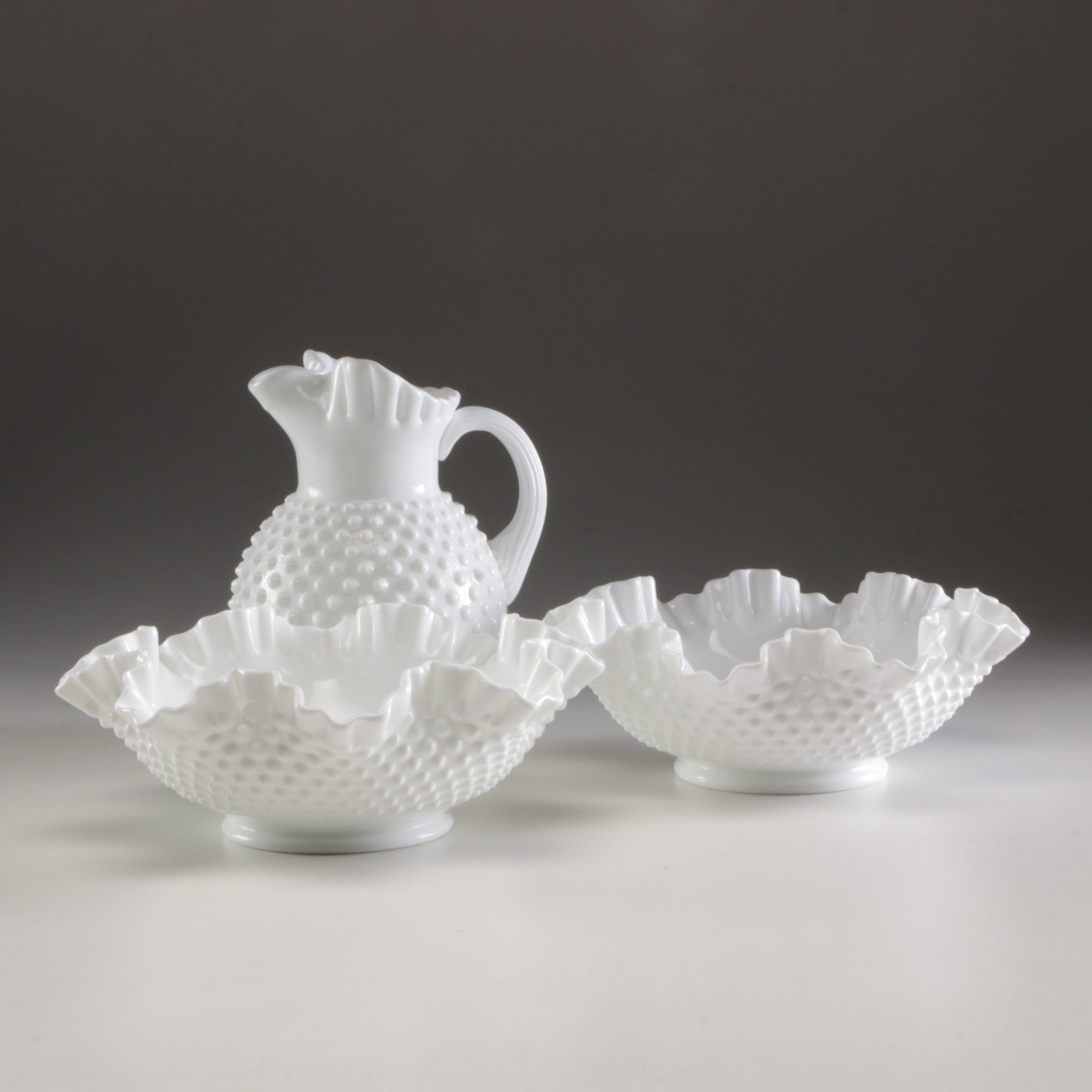 Grouping of Fenton Milk Glass Hobnail Centerpieces and Pitcher