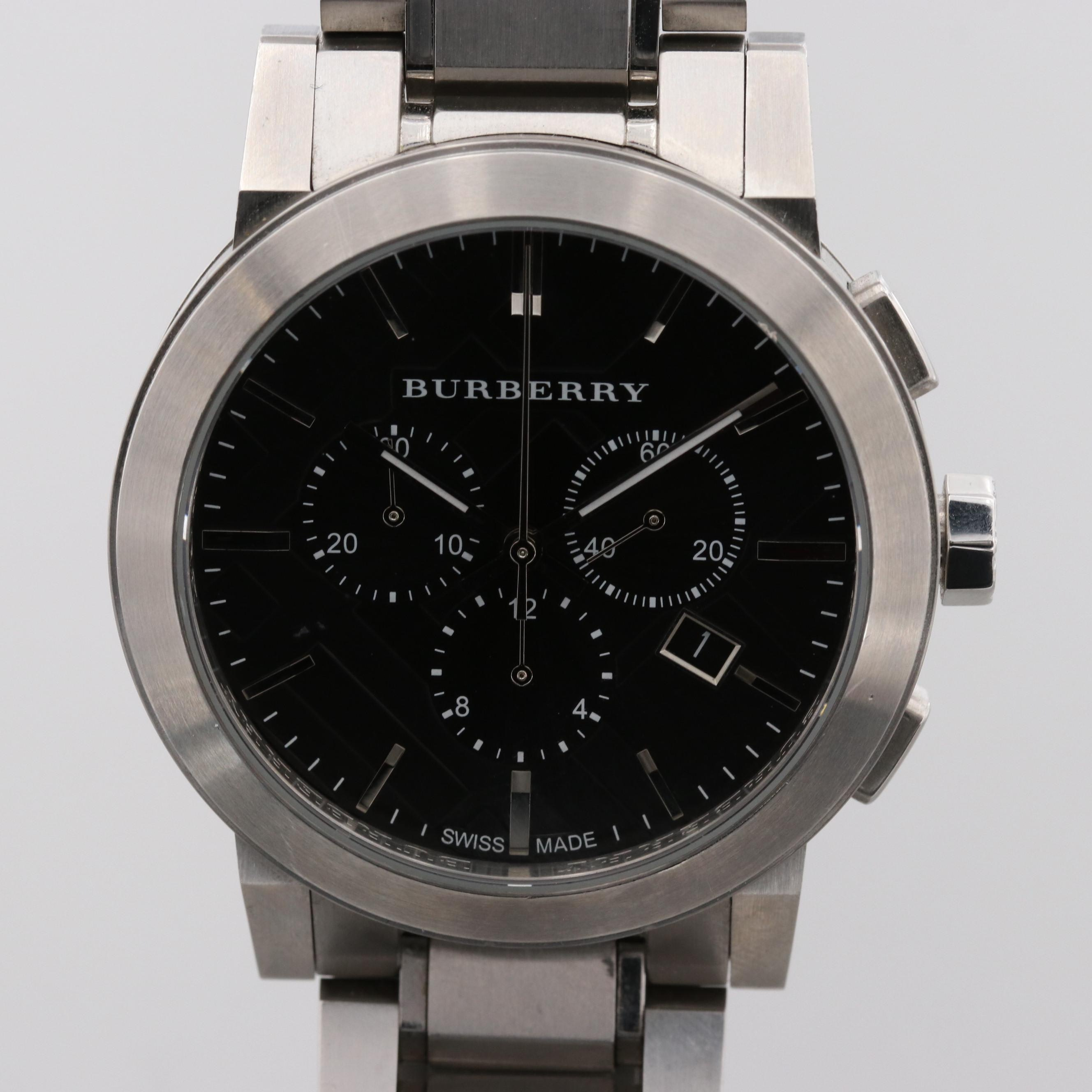 Burberry Stainless Steel Chronograph Wristwatch With Date Window