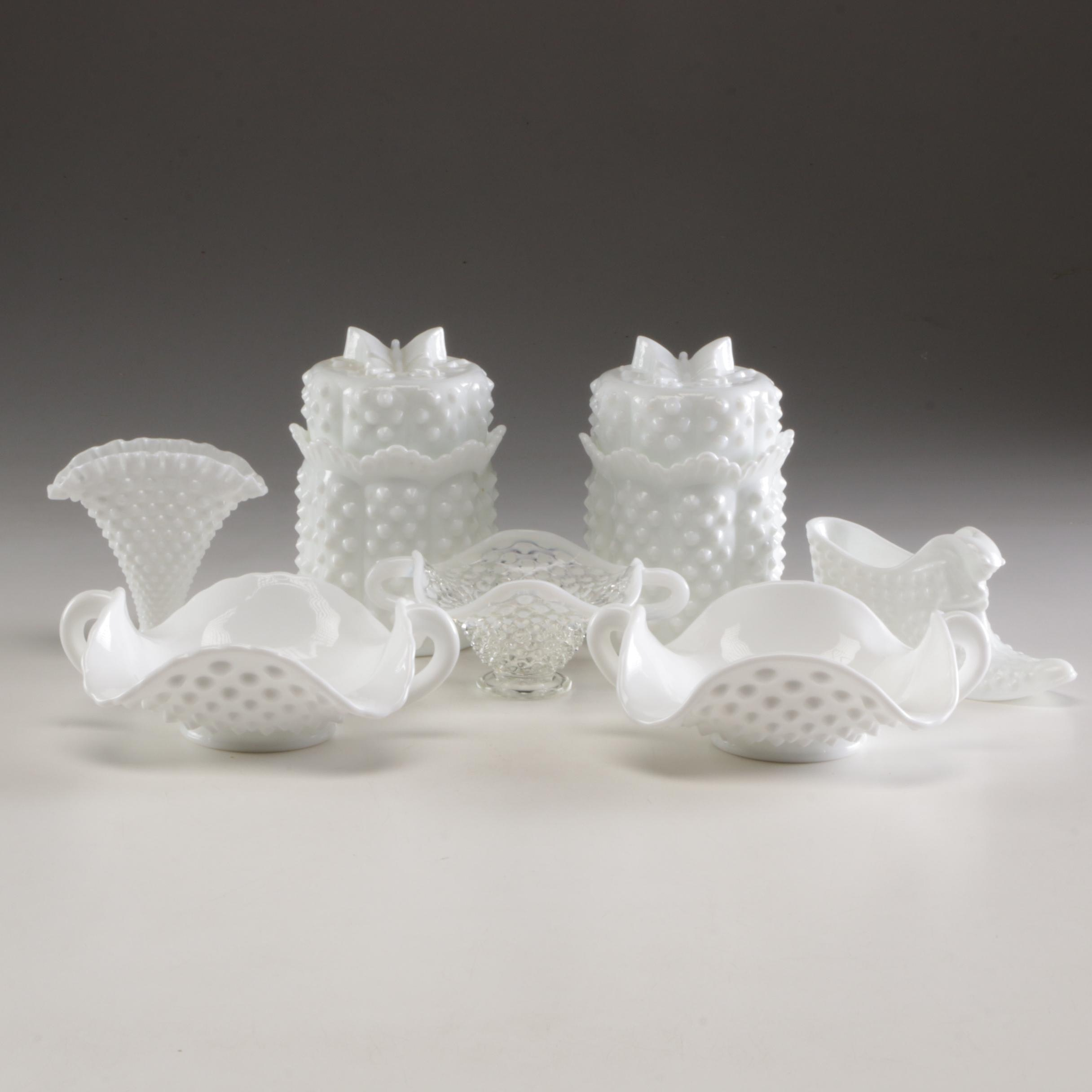 Grouping of Fenton Milk Glass Hobnail Table Decor and Serveware