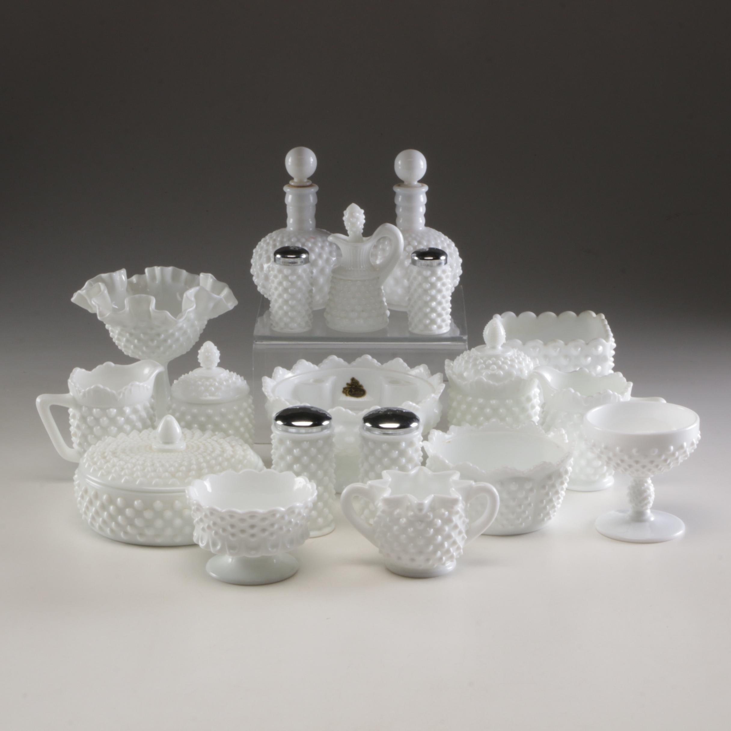 Grouping of Fenton Milk Glass Hobnail Tableware