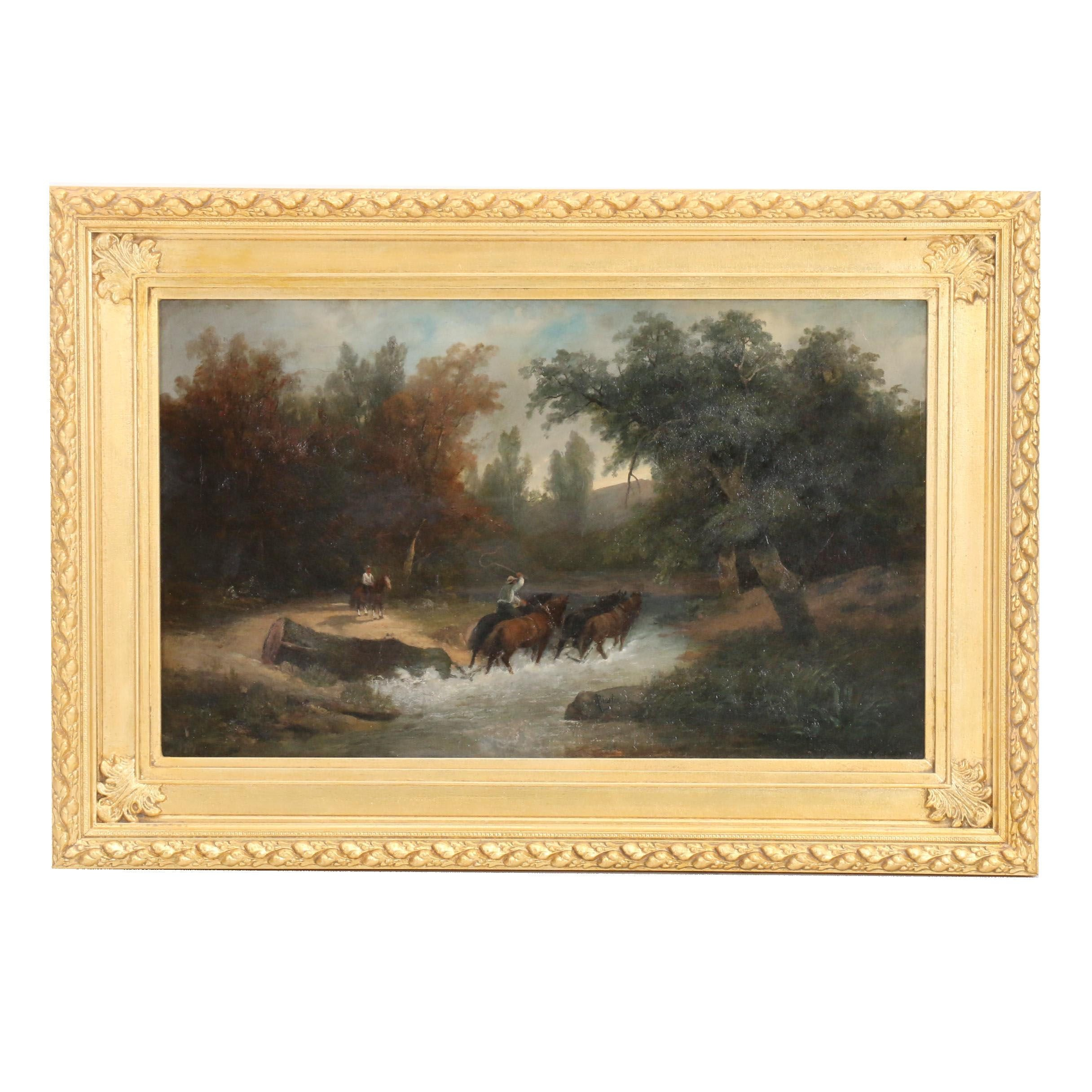 Anthony Biester Oil Painting of Figures on Horseback in Landscape