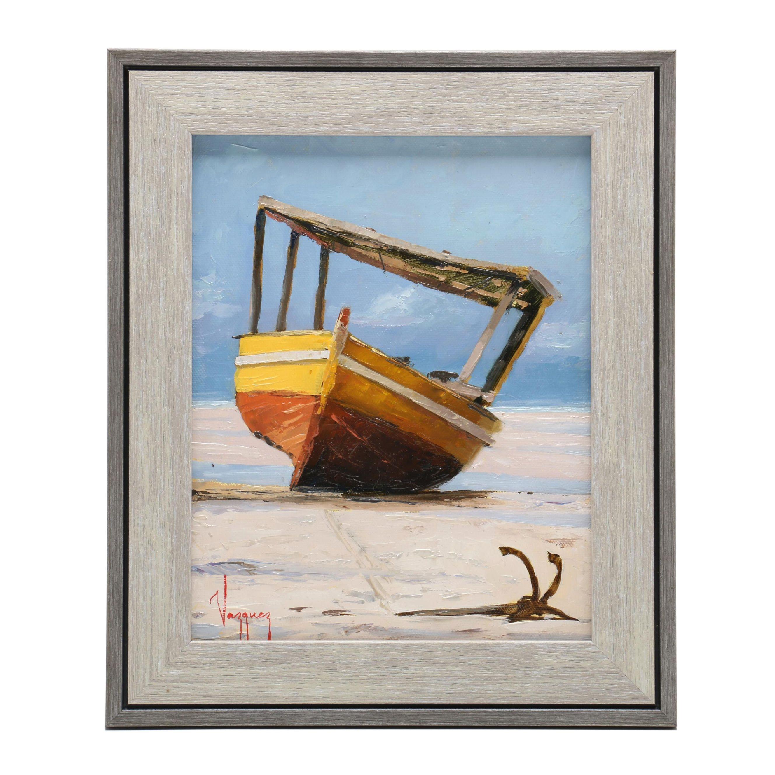Marco Antonio Vazquez Oil Painting of Yellow Boat