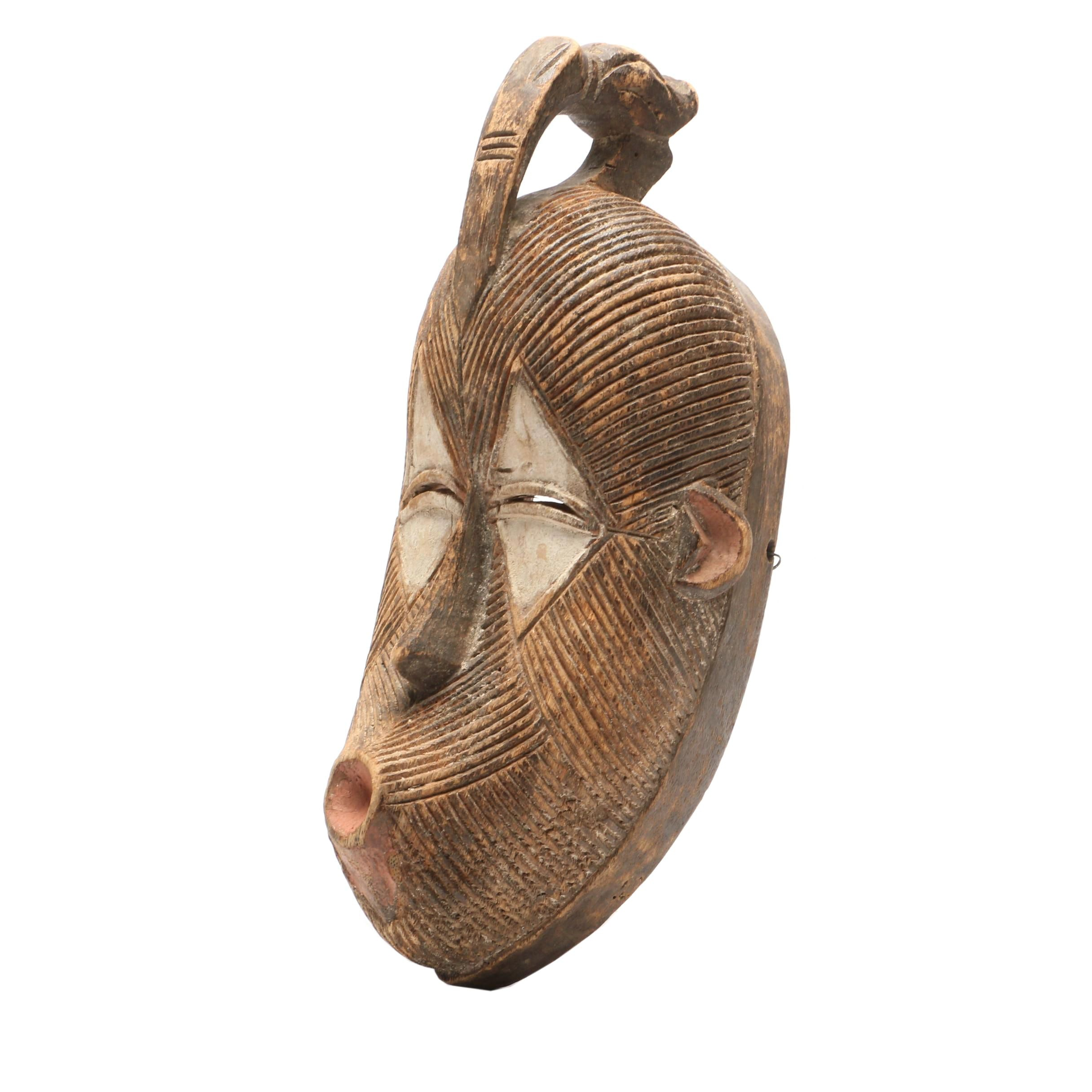 20th Century Carved Wood Mask from South East DR Congo