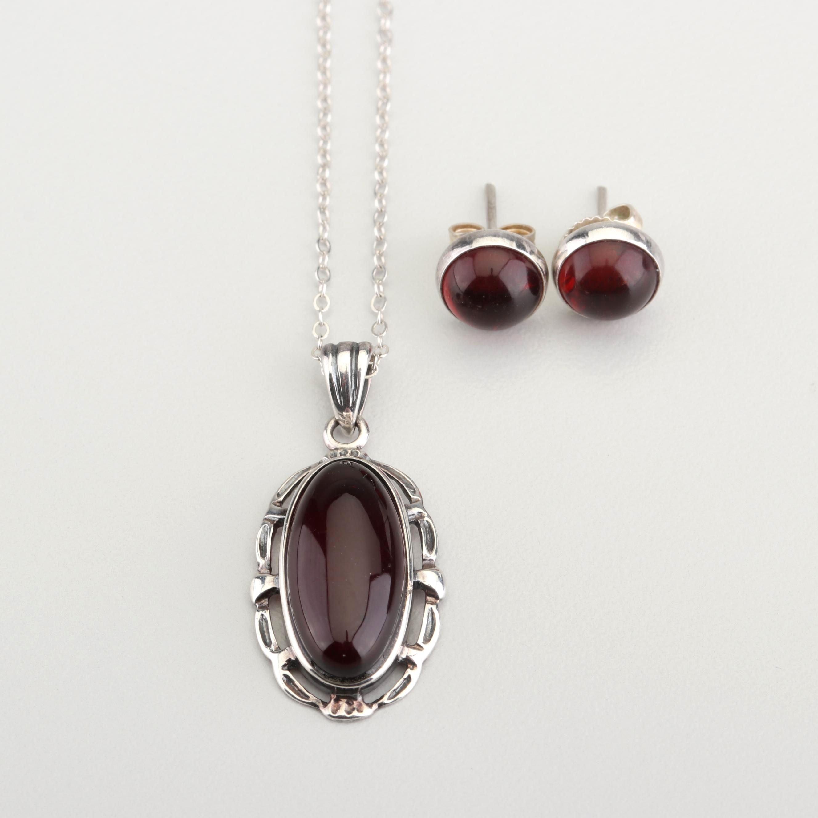 Sterling Silver Almandite Garnet Necklace and Earrings