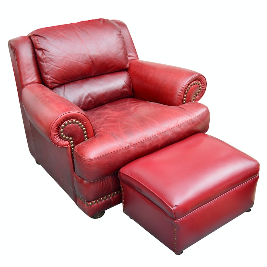 Strange Italian Red Leather Club Chair With Coordinated Leather Ottoman Alphanode Cool Chair Designs And Ideas Alphanodeonline