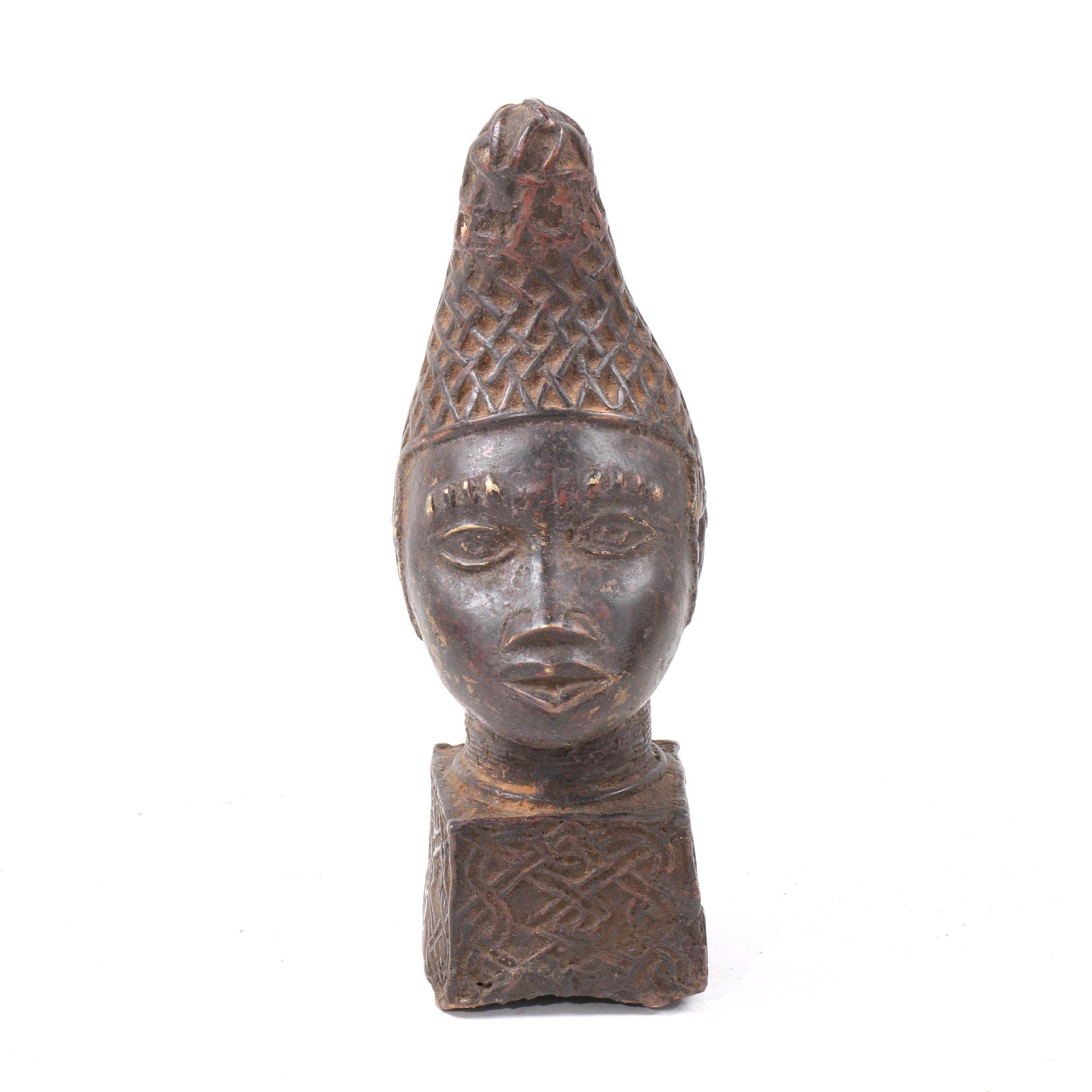 20th Century Benin Bronze Queen Mother Head