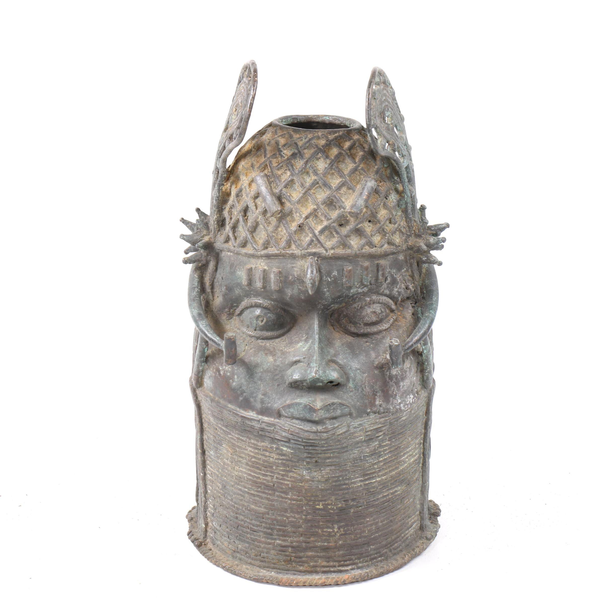 20th Century Benin Bronze Memorial Head
