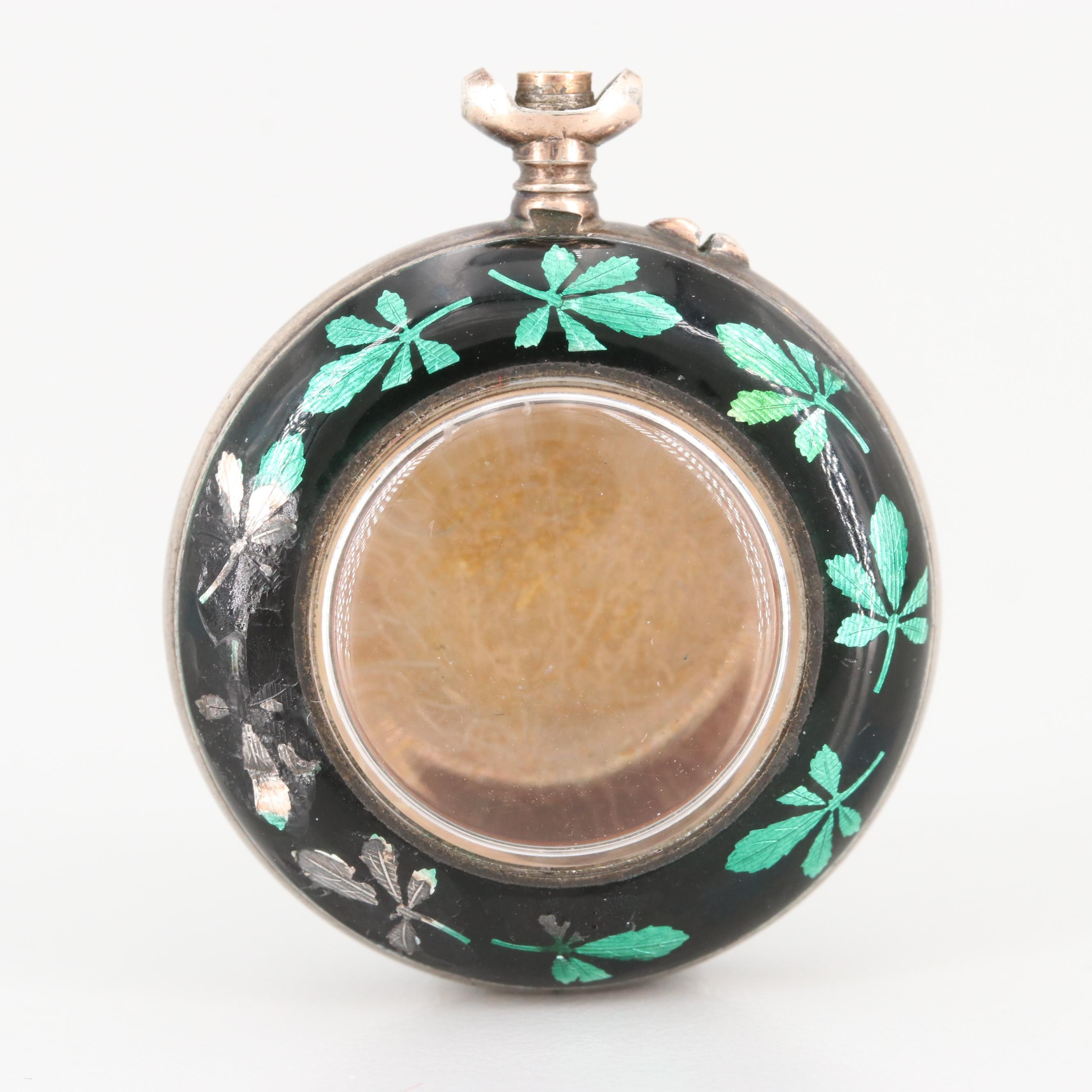 Antique 800 Silver Enameled Pocket Watch Case with Gold Wash Details