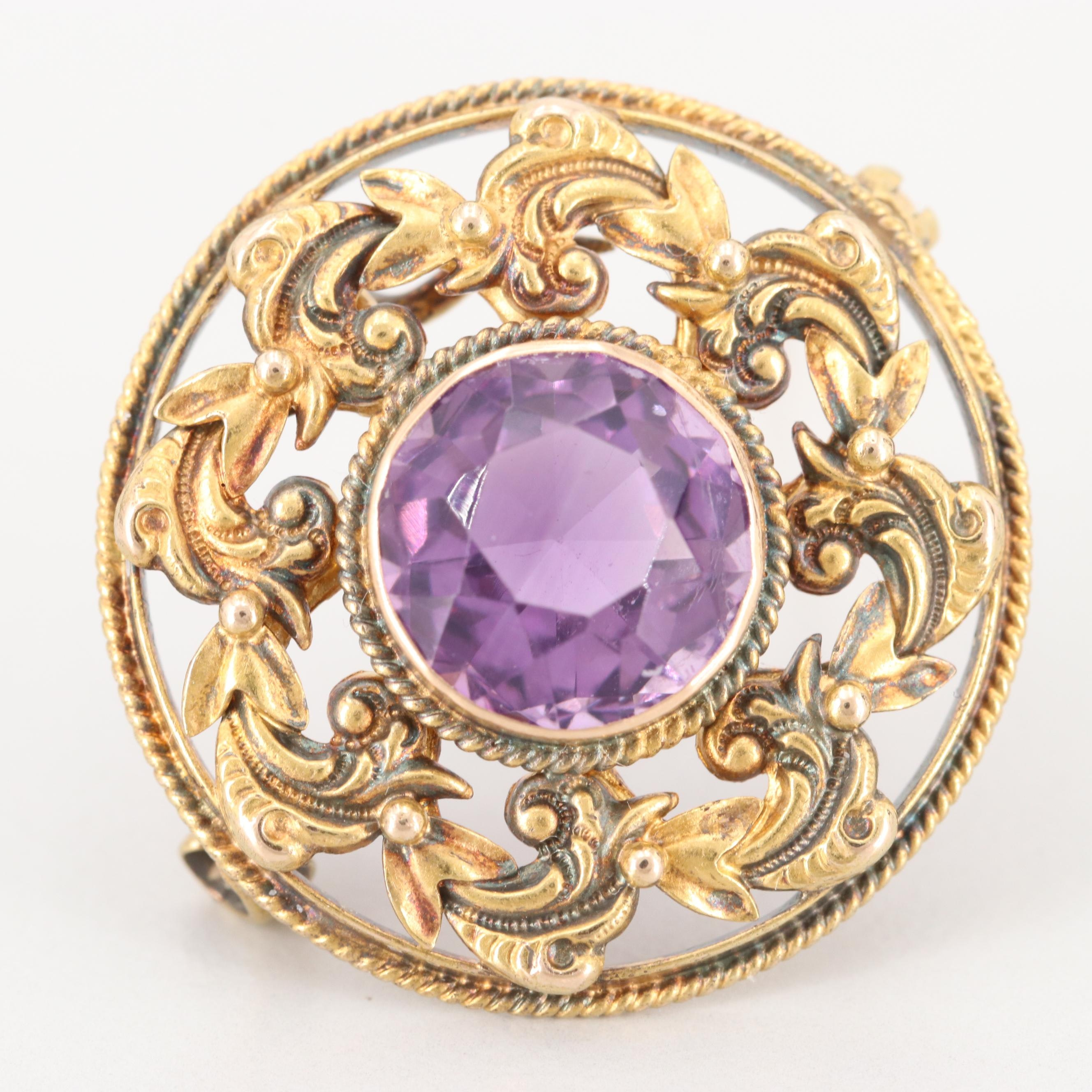 Late Victorian 14K Yellow Gold Amethyst Converter Brooch