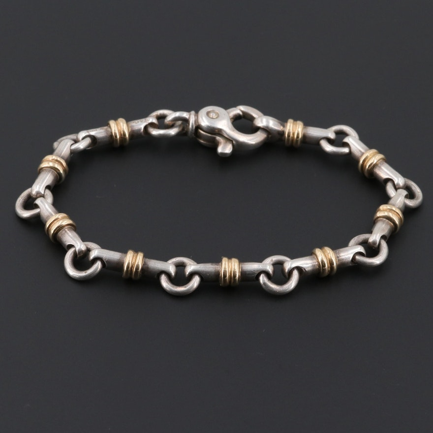 Tiffany & Co Sterling Long Bar Link Bracelet With 18K Yellow Gold Accents