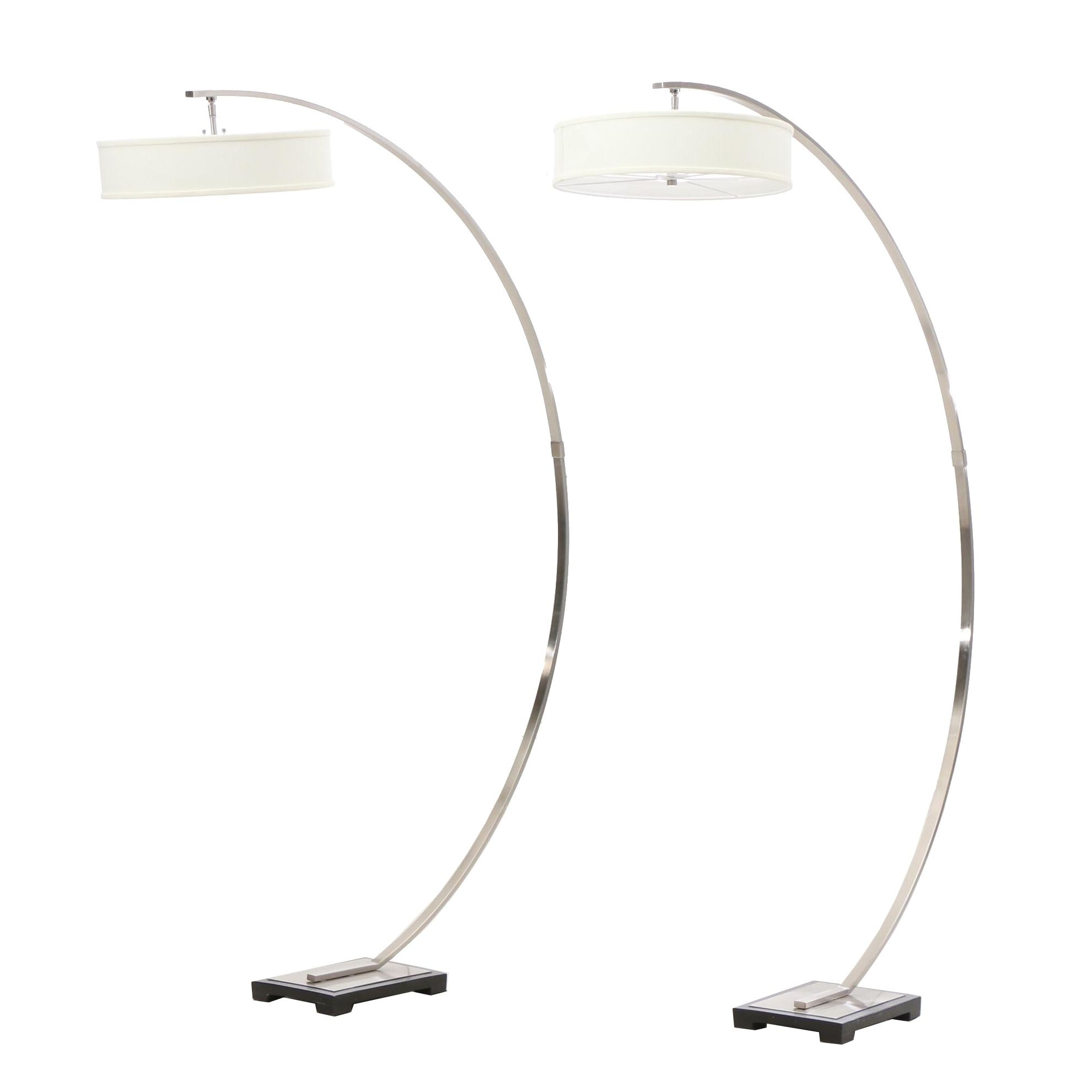 Modernist Chrome Finish Arching Floor Lamps