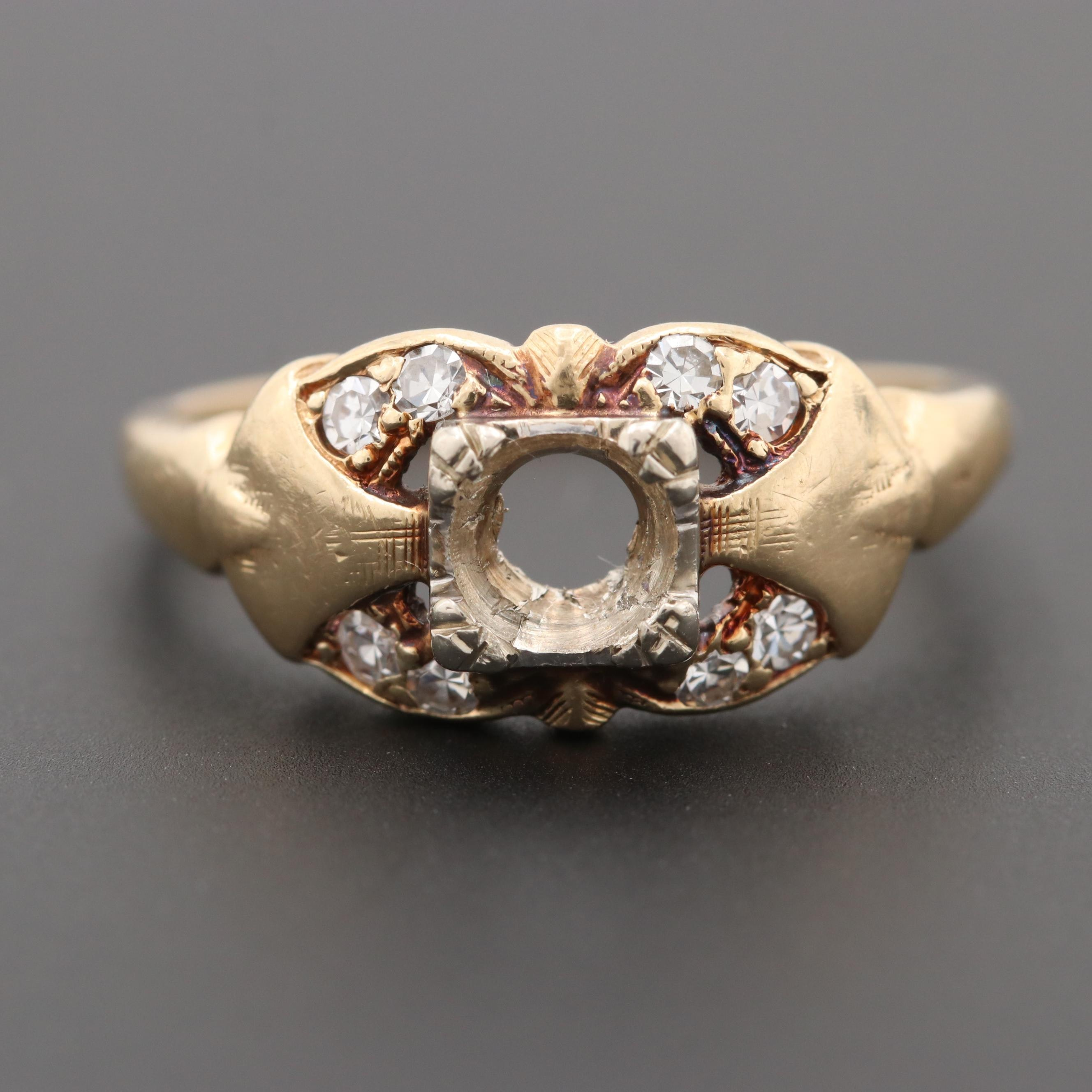 Vintage 14K Yellow Gold Diamond Semi Mount Ring