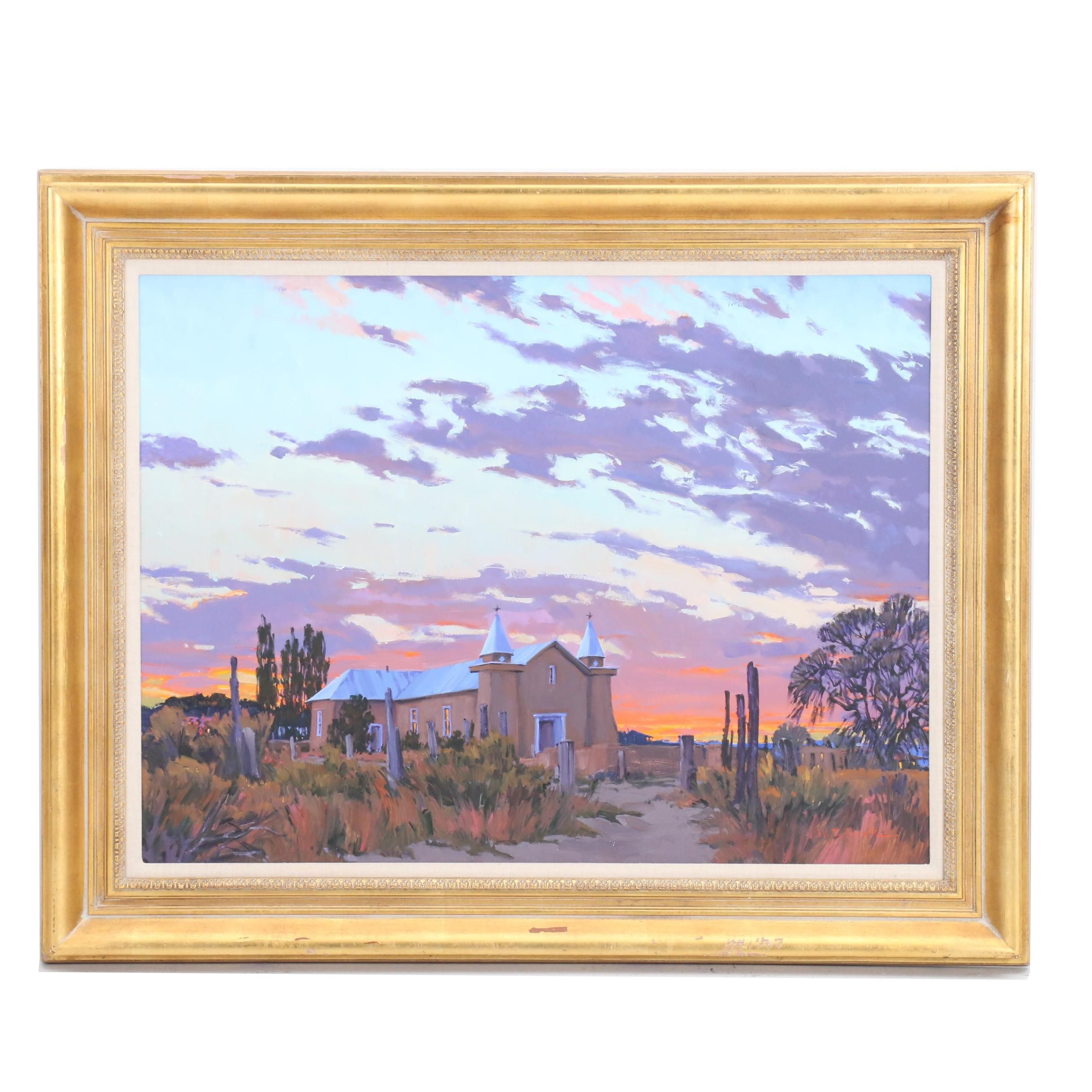 "William Cather Hook Acrylic Painting ""Old Santuario"""