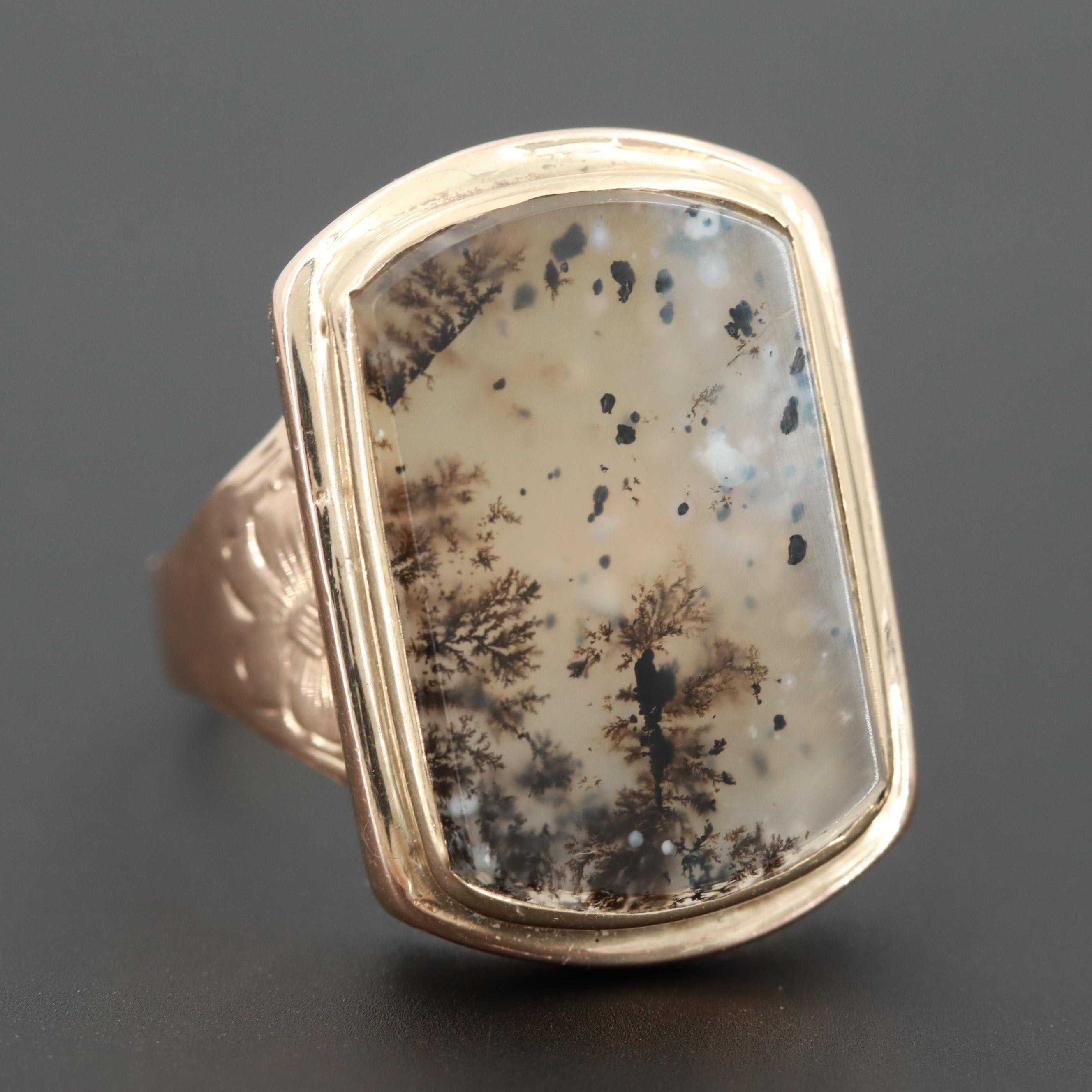 Victorian 14K Yellow Gold Dendrite Agate Ring
