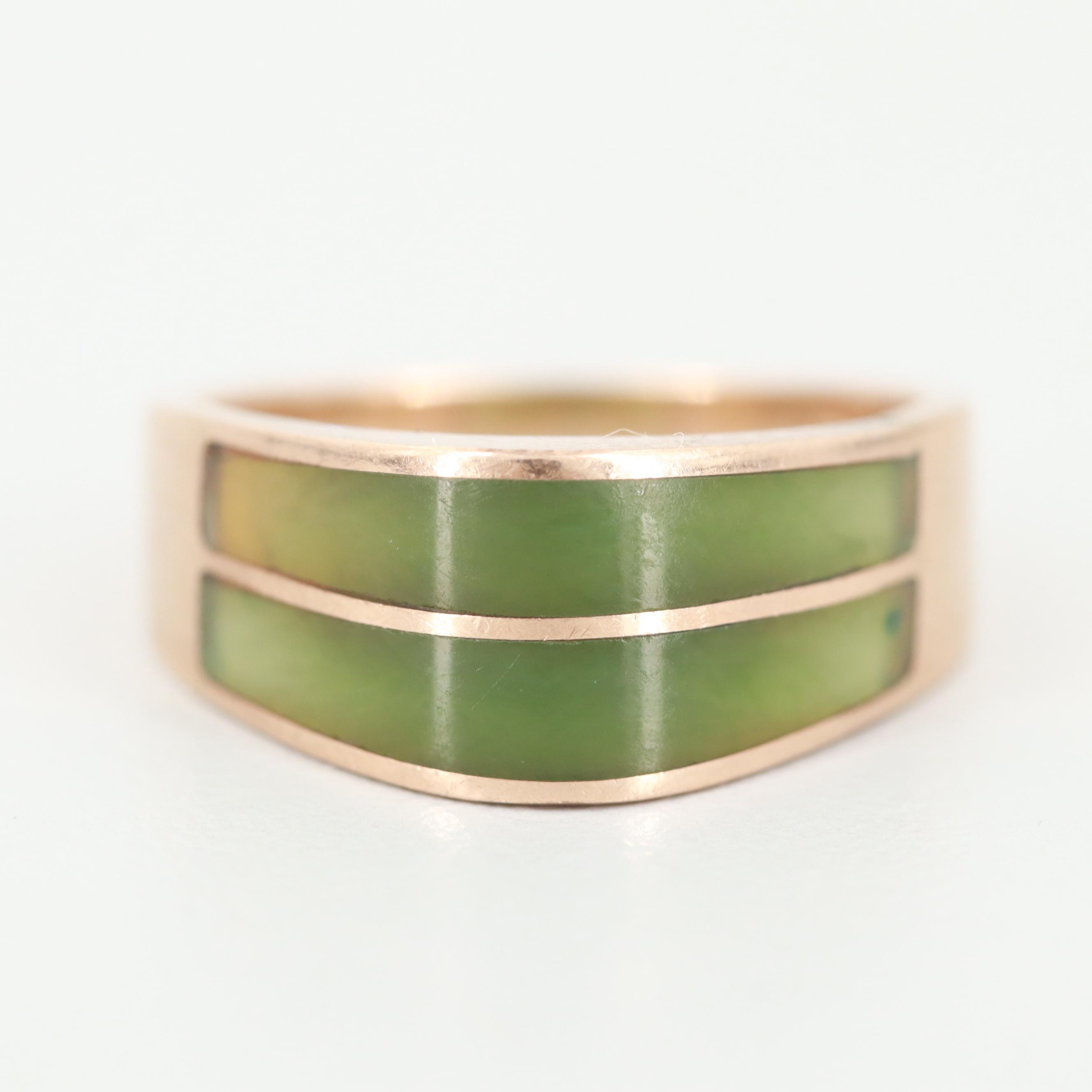 Modernist 10K Yellow Gold Nephrite Inlay Ring