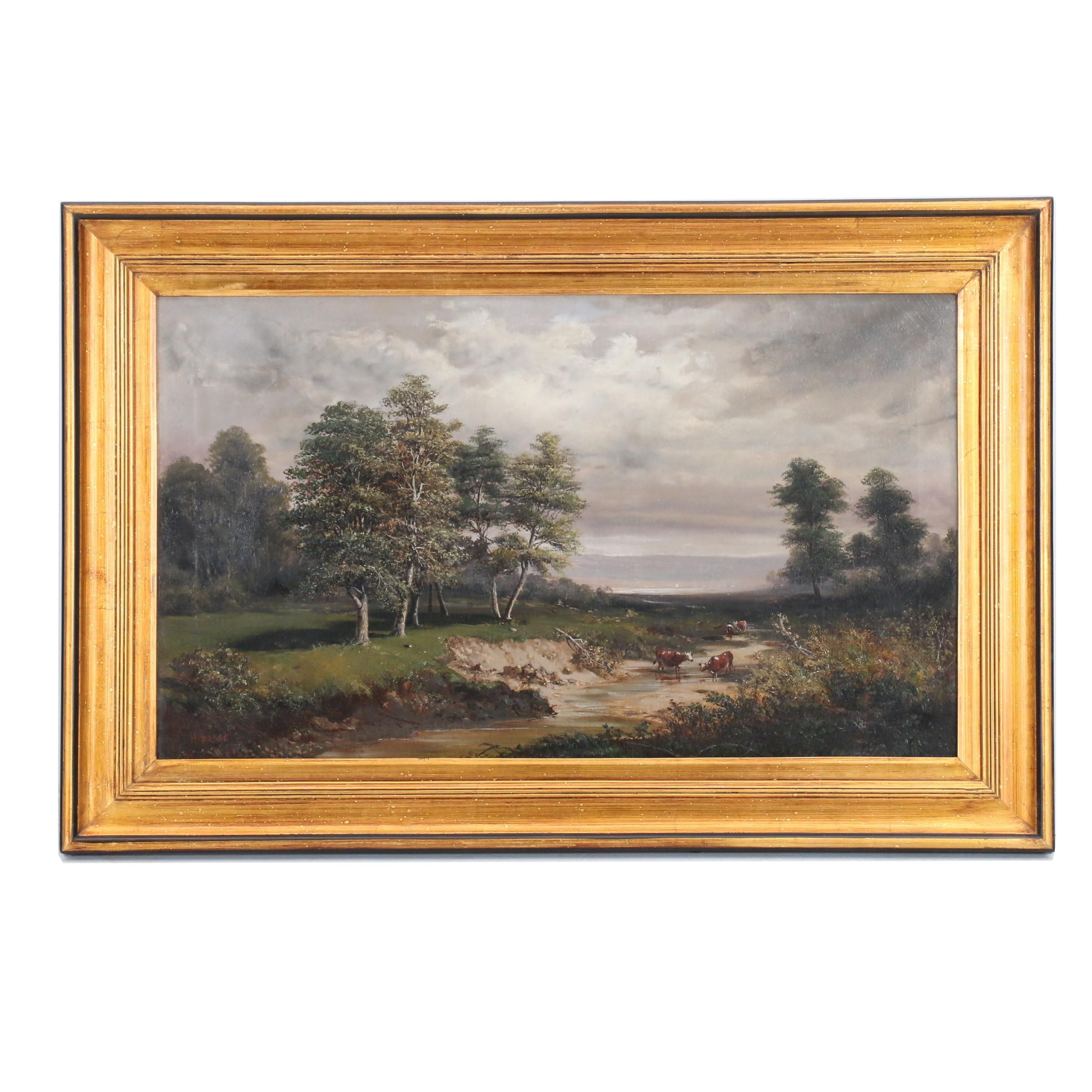 Henry Boese Oil Painting of Pastoral Landscape with Cows Wading