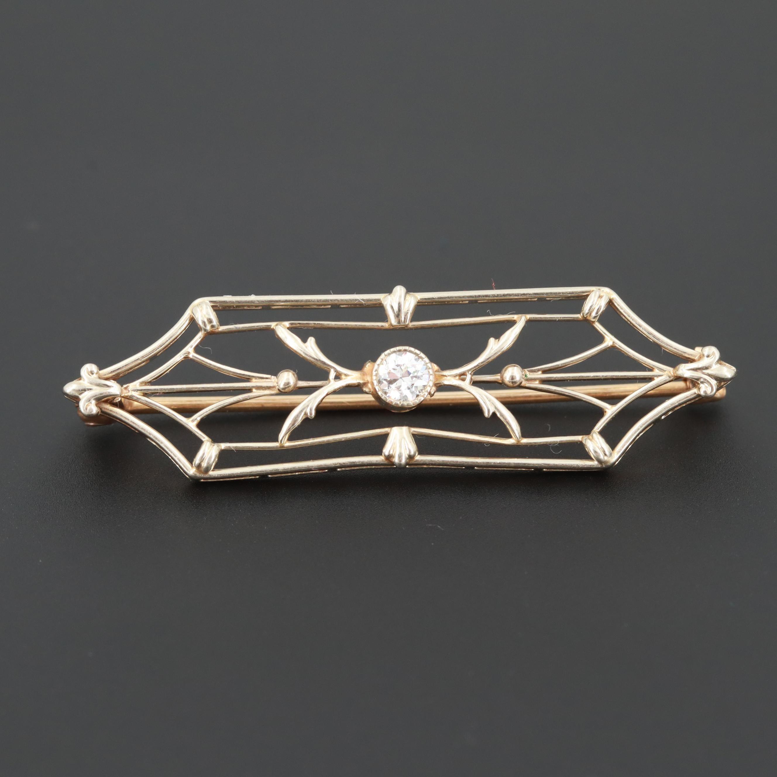 Circa 1920s 14K Yellow Gold Diamond Brooch