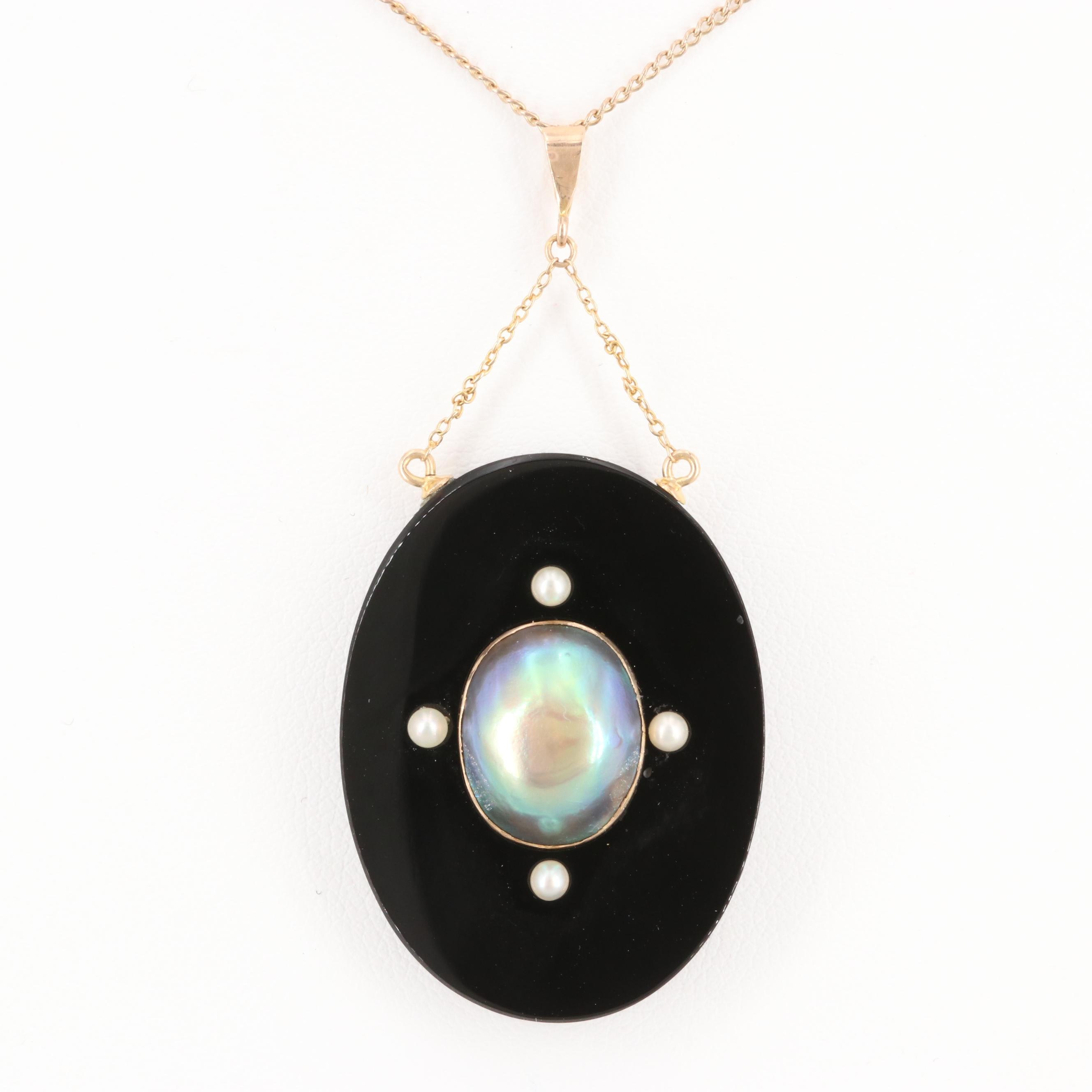 14K Yellow Gold Black Onyx, Cultured and Seed Pearl Pendant on Gold Tone Chain