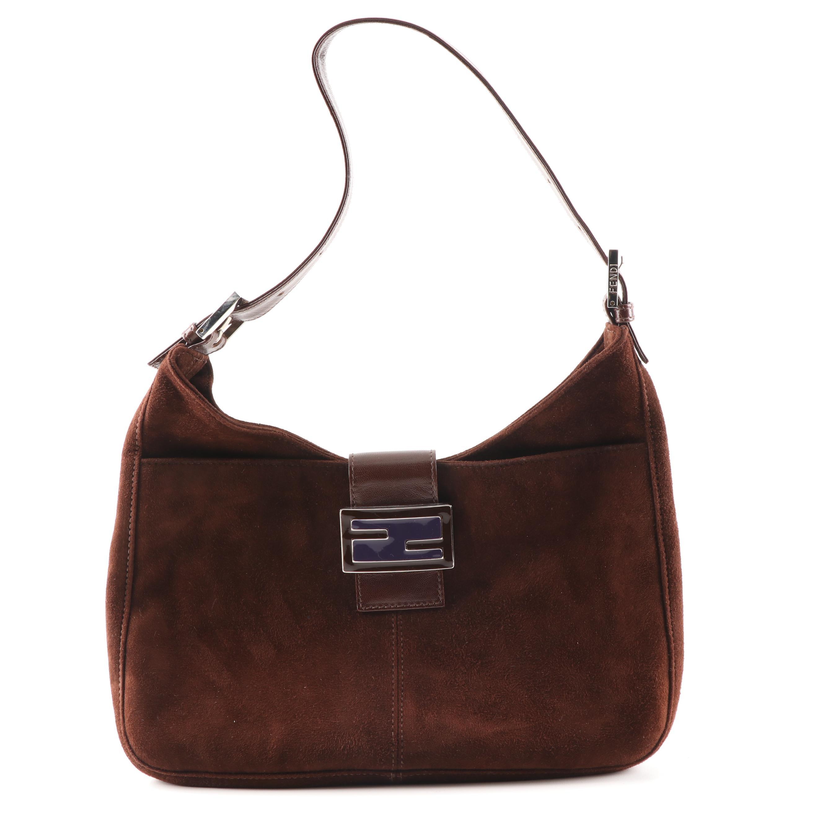 Fendi Cognac Brown Suede and Leather Handbag